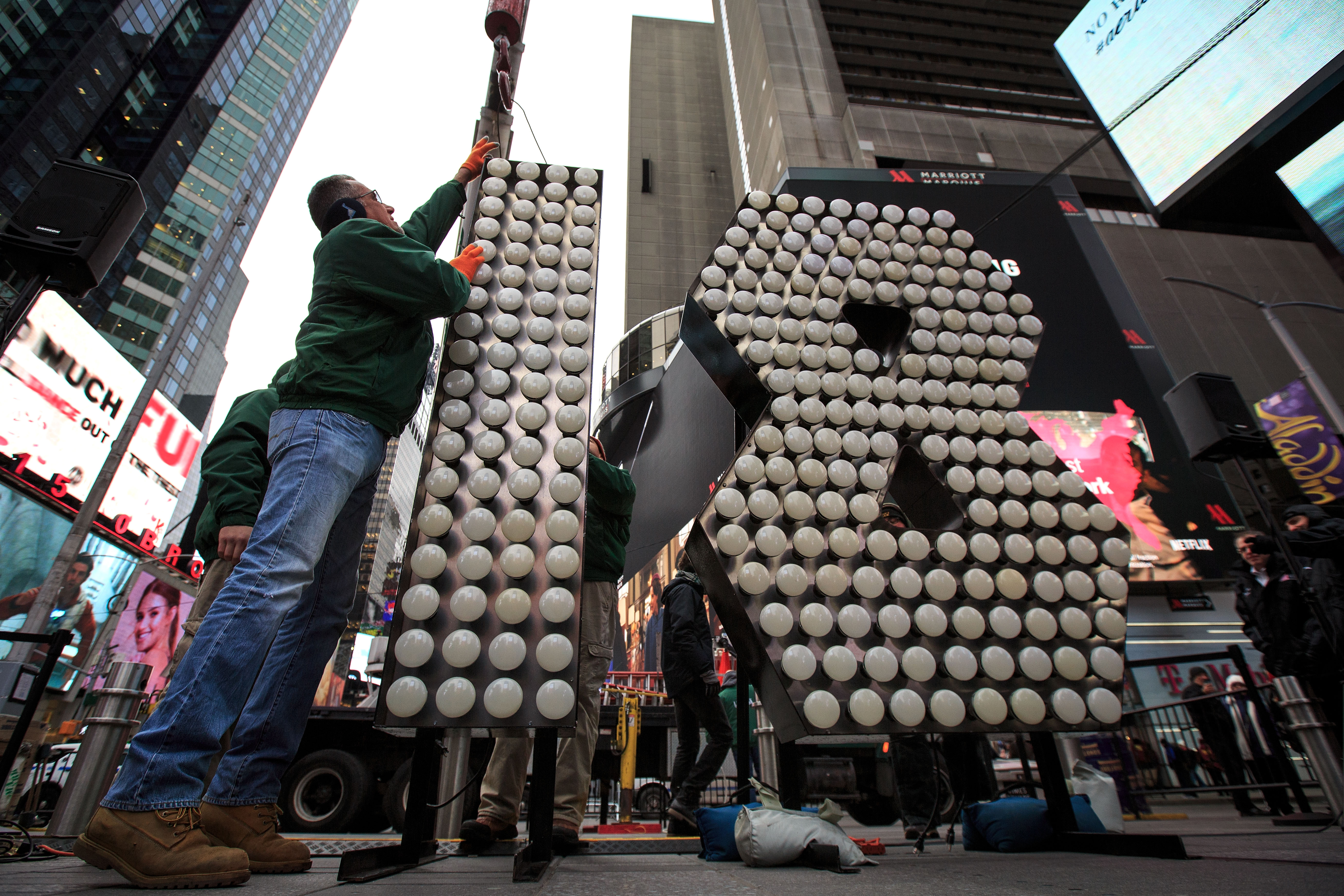 The Numerals For New York City's Annual New Year's Eve Celebration Arrive In Times Square