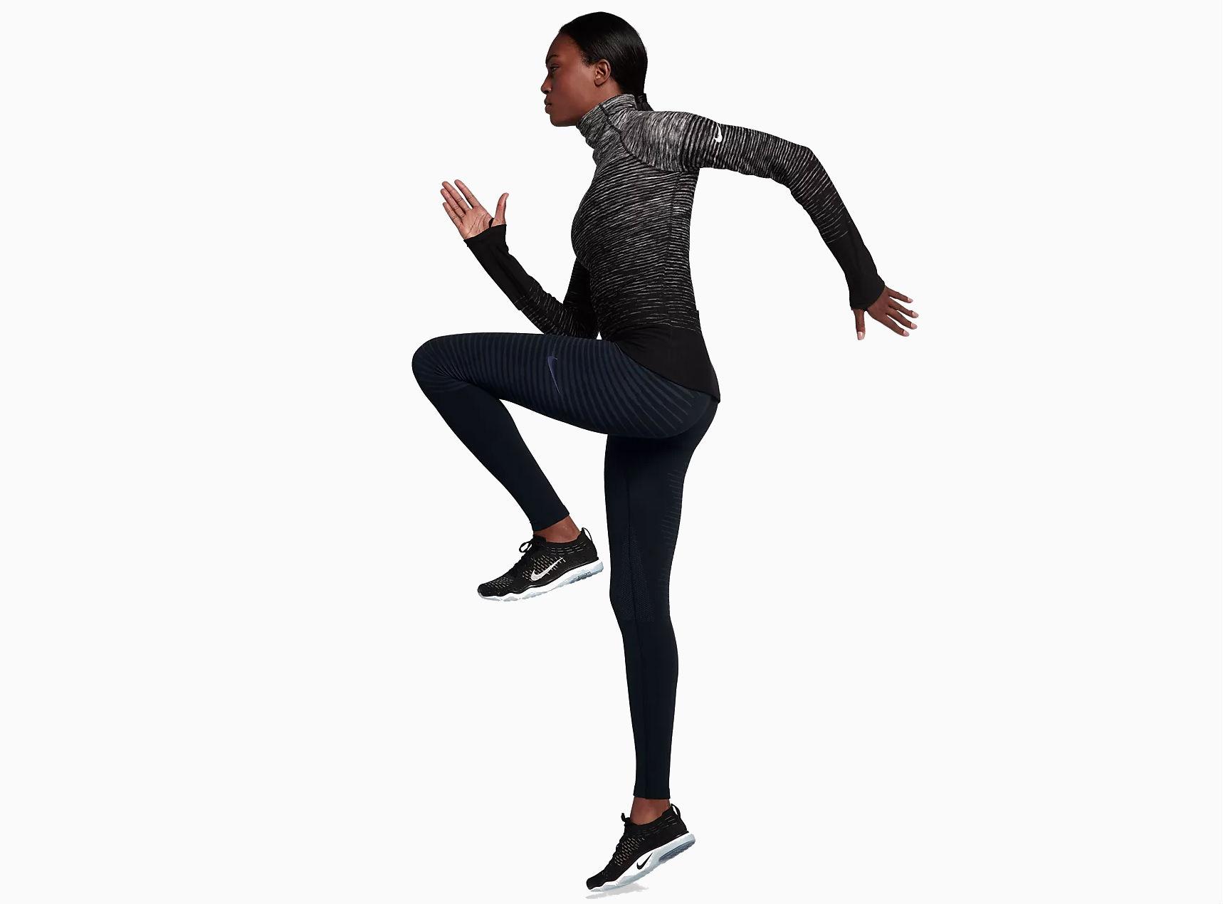 A model in Nike running gear