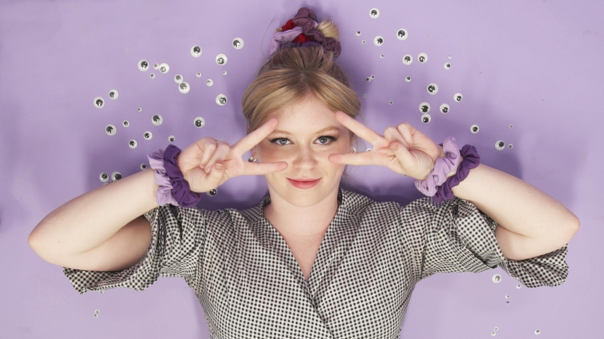 A woman wearing scrunchies