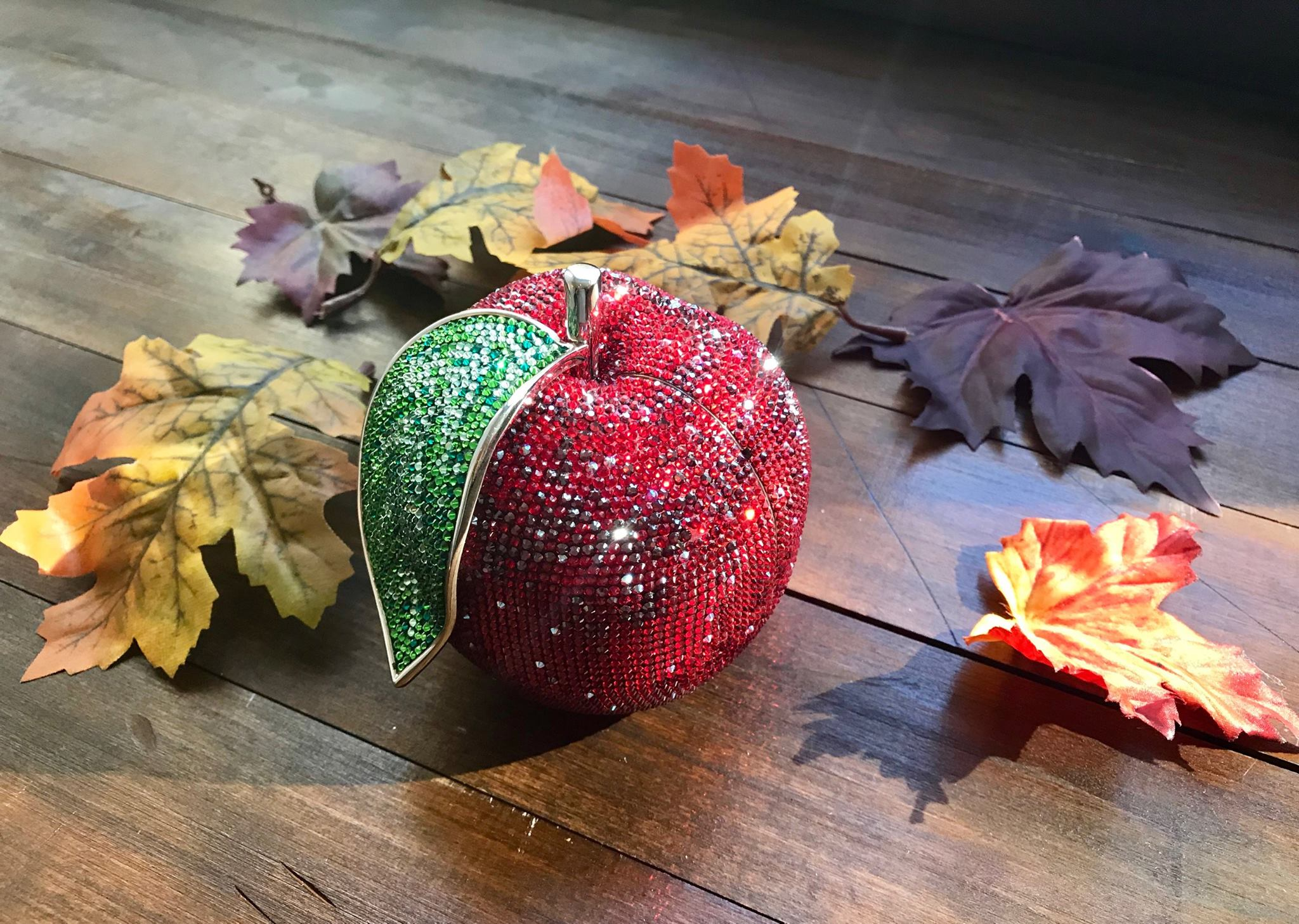 A red crystal bag from Judith Leiber, arranged near some leaves