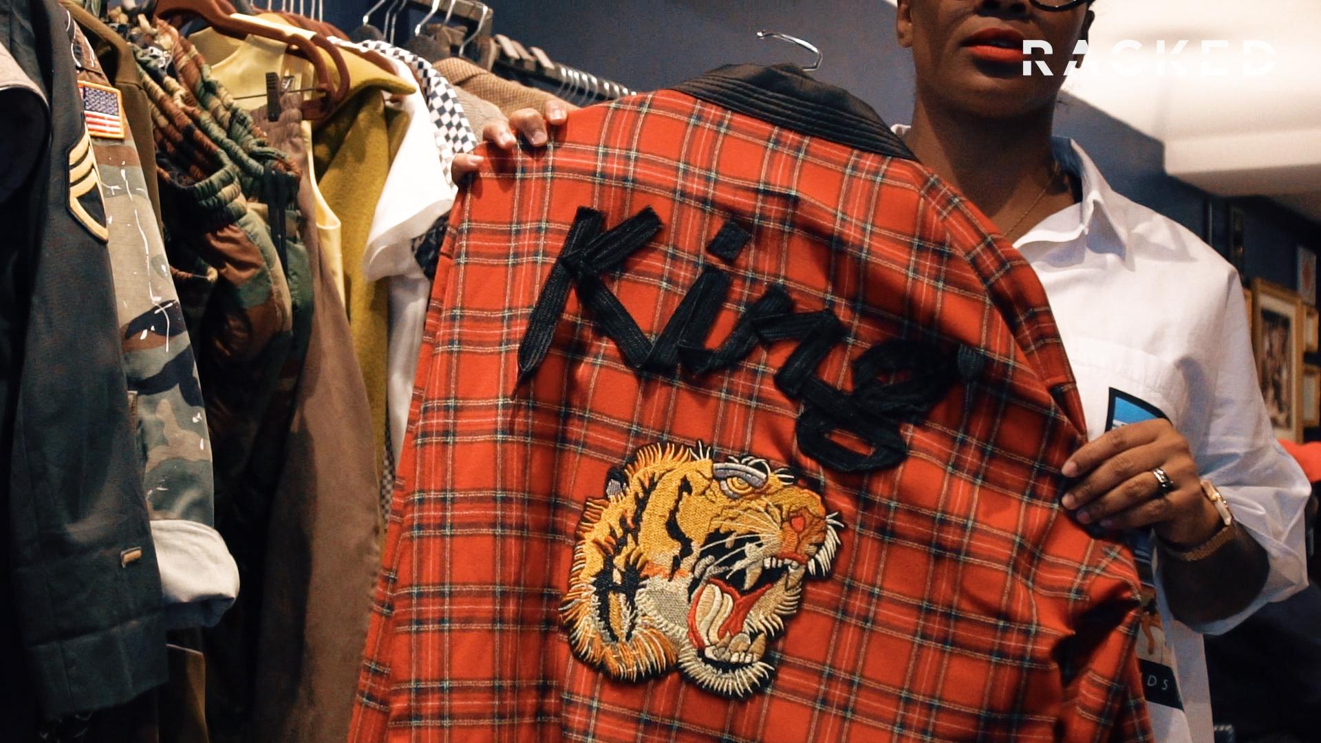 Close-up of a jacket at Harlem Haberdashery