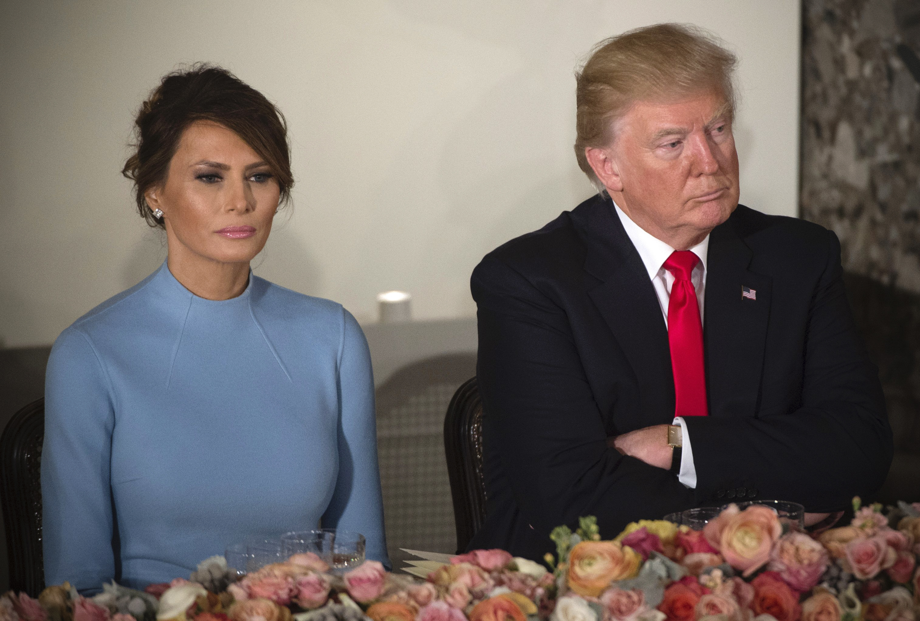 President Donald Trump and First Lady Melania Trump attend the Inaugural Luncheon at the US Capitol.