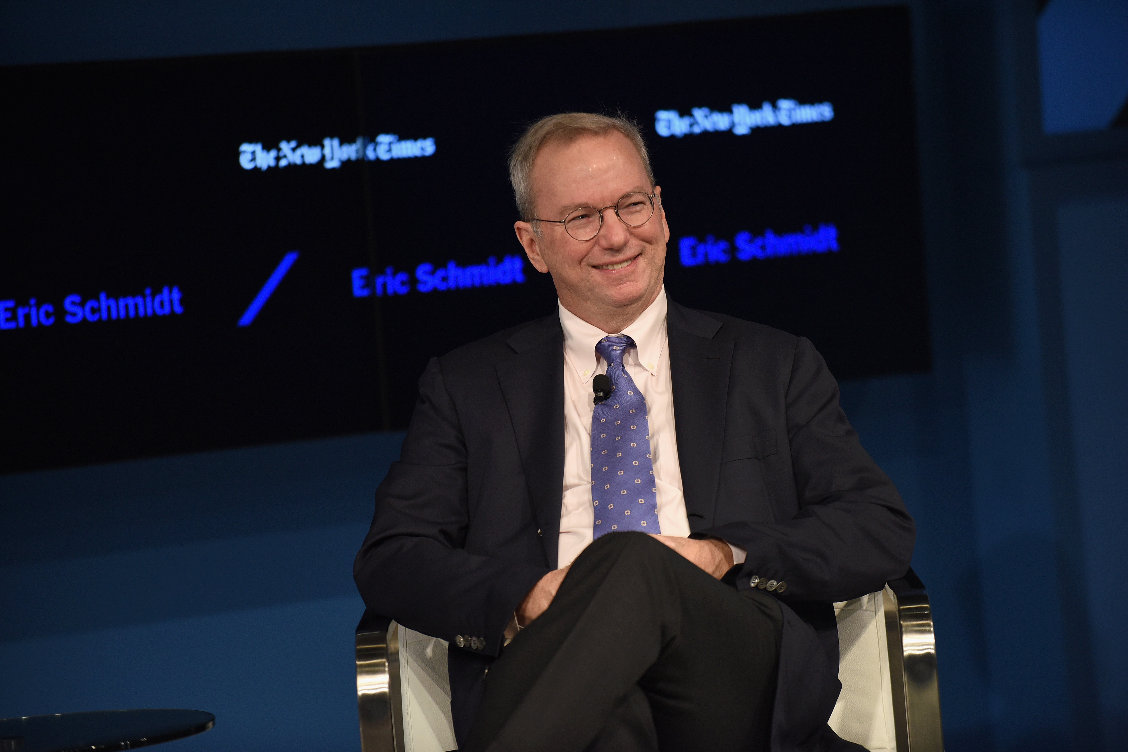 Eric Schmidt onstage at the 2016 DealBook Conference in New York City