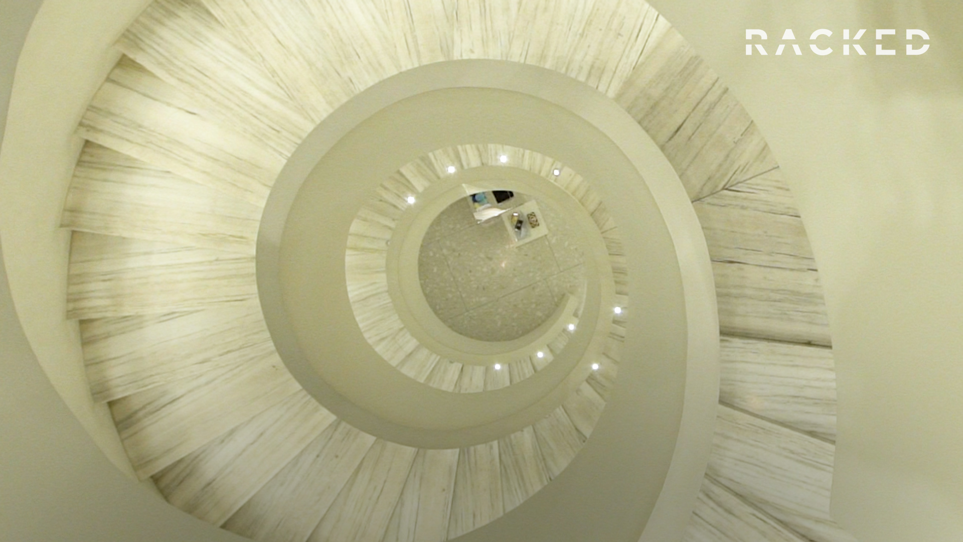 The white marble spiral staircase at Barneys in New York City