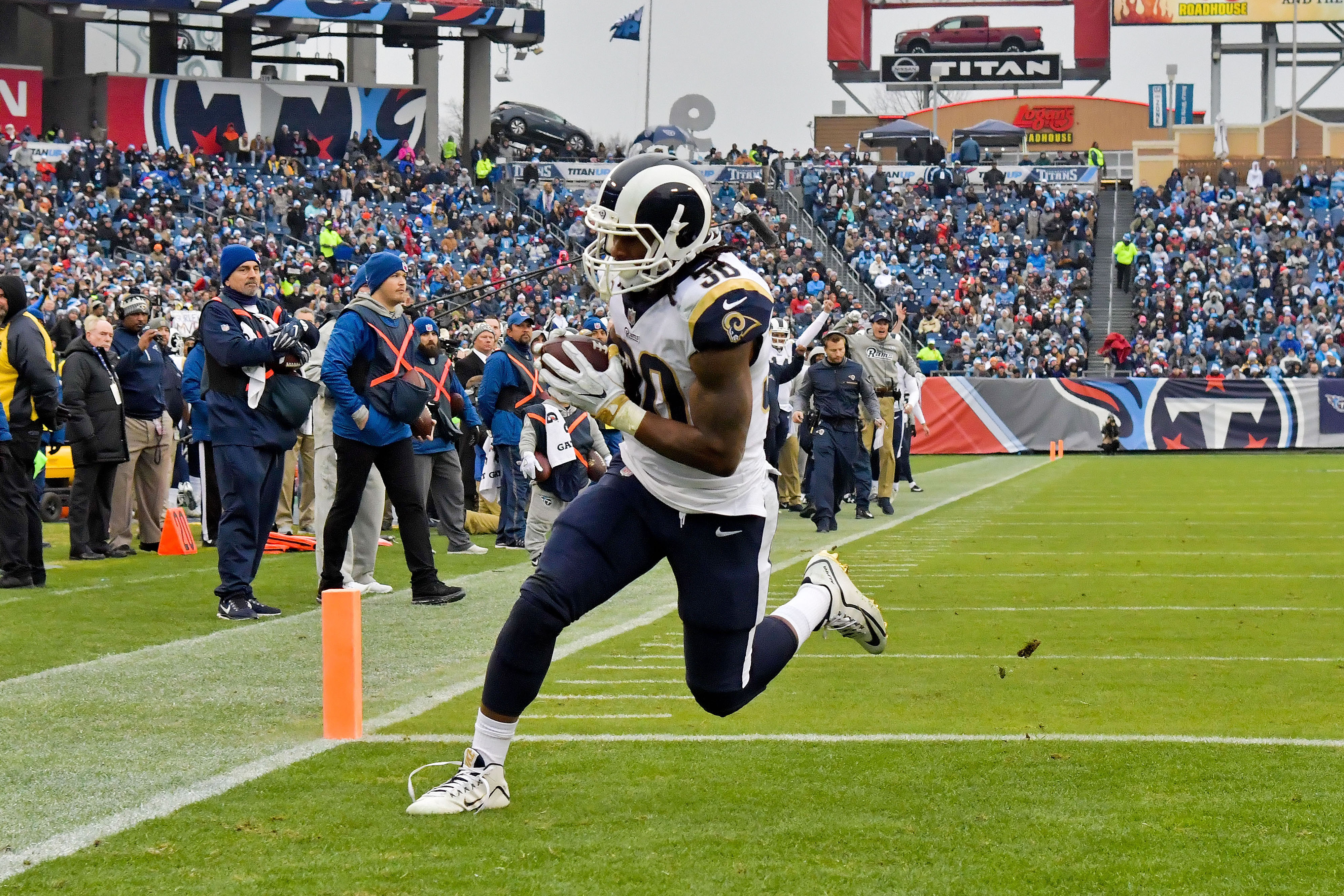 Los Angeles Rams RB Todd Gurley scores his first touchdown against Tennessee Titans in Week 16