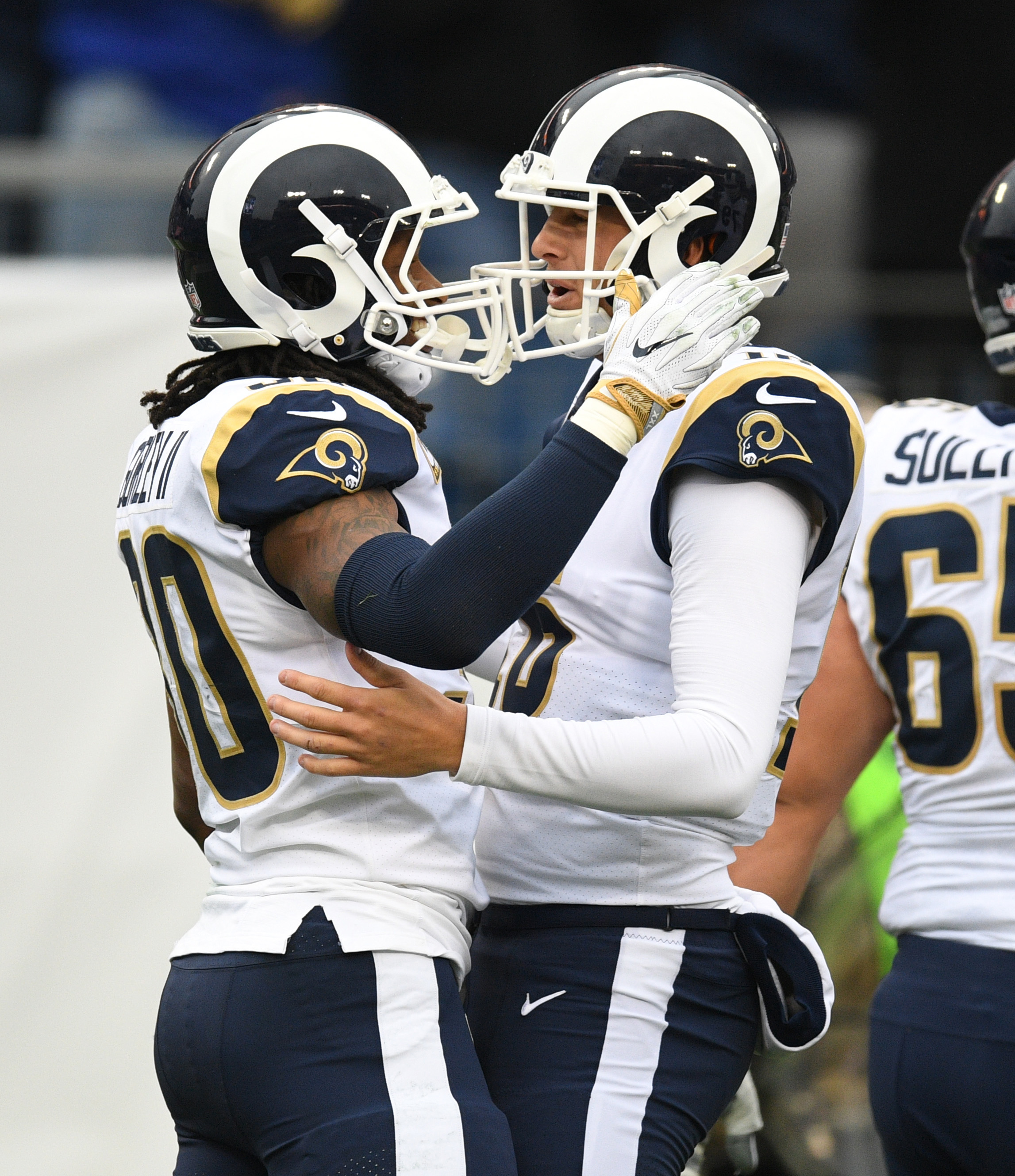 Los Angeles Rams RB Todd Gurley and QB Jared Goff celebrate an early touchdown against the Tennessee Titans