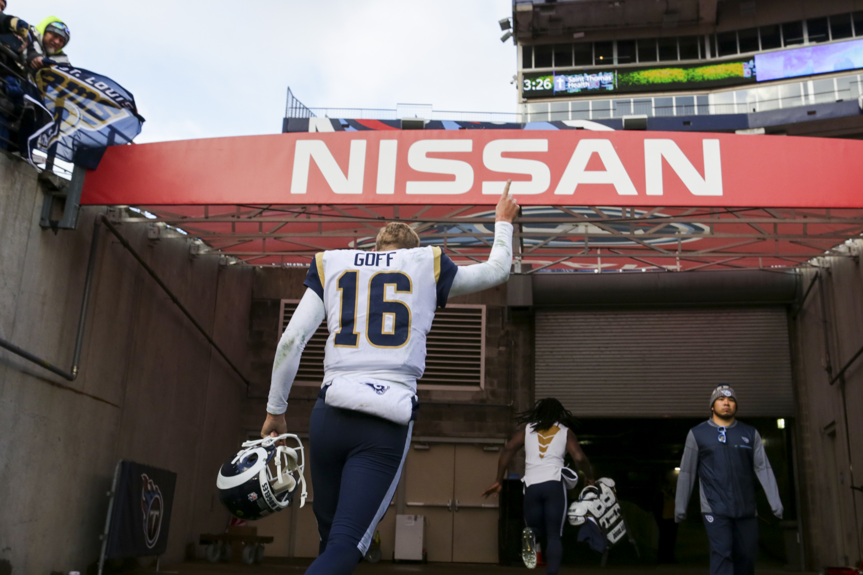 Los Angeles Rams QB Jared Goff celebrates after clinching the NFC West crown