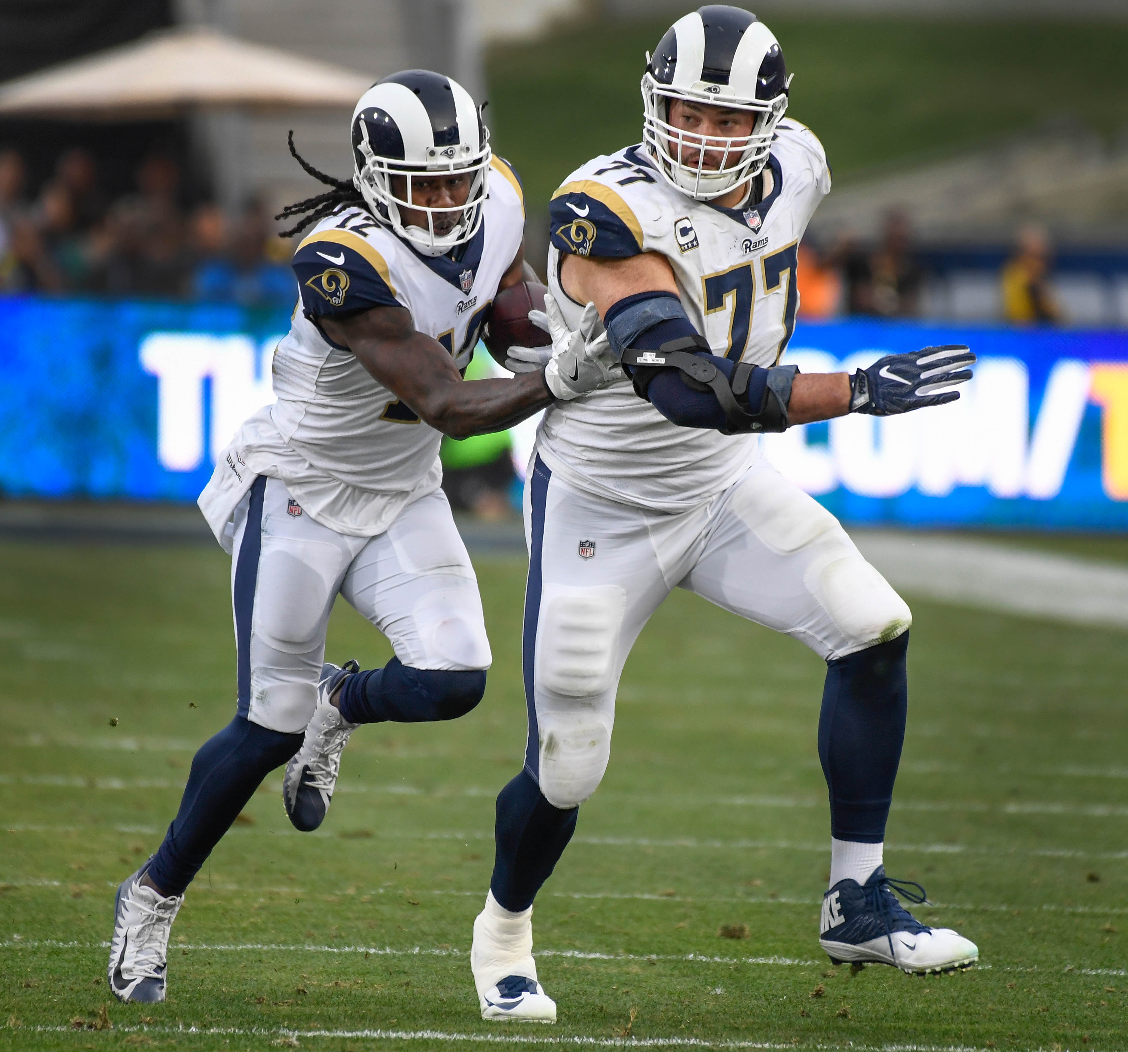 Los Angeles Rams LT Andrew Whitworth leads the way for WR Sammy Watkins