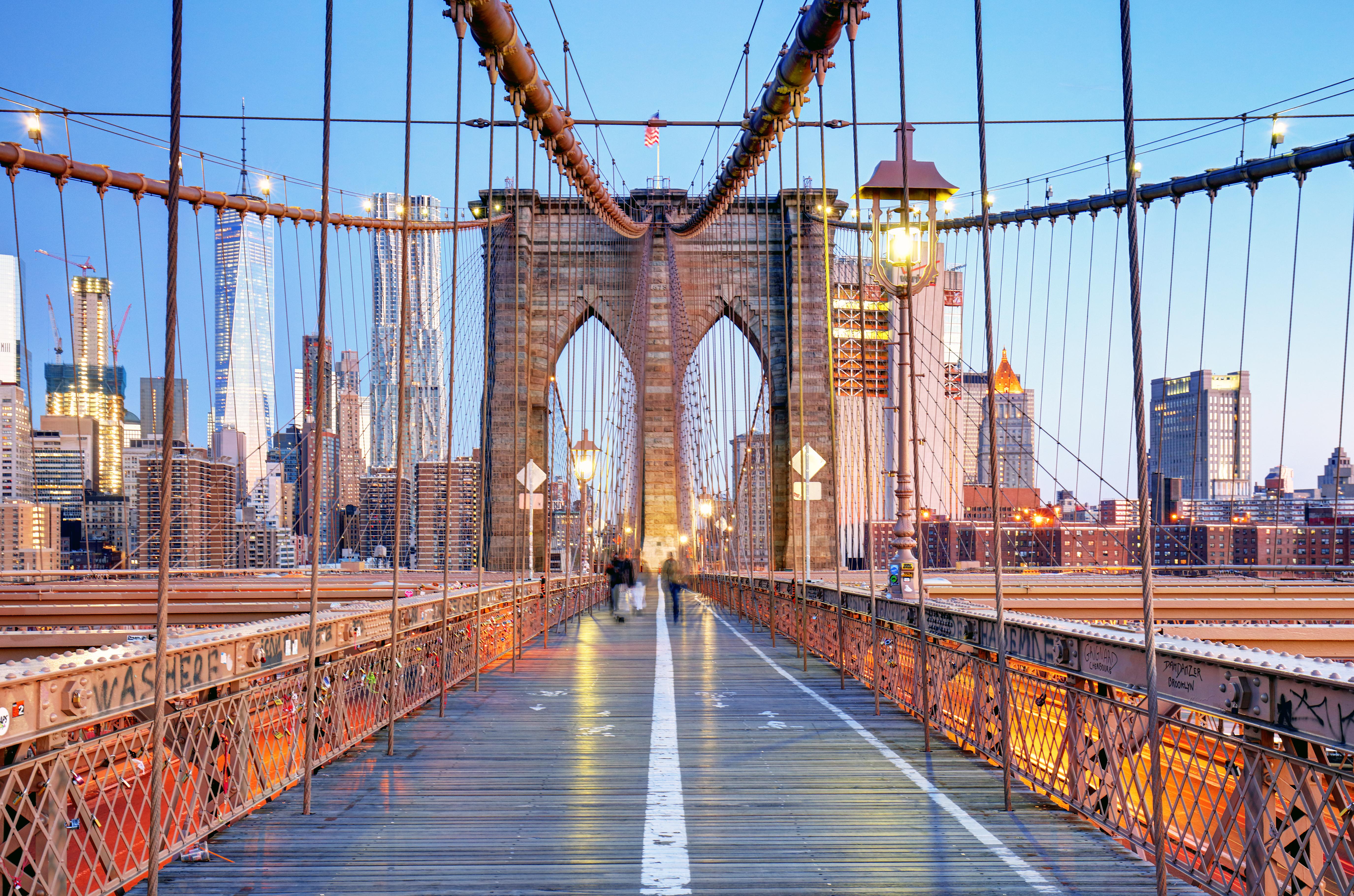 Brooklyn Bridge with a view of Manhattan