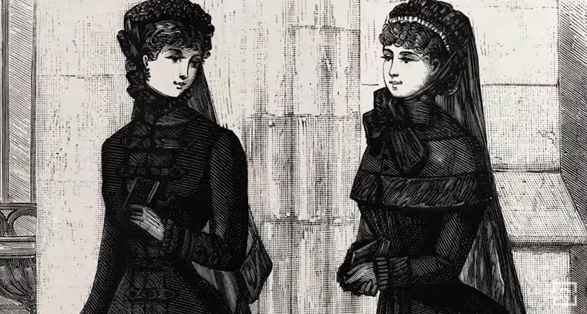 Early 20th century illustration of women wearing black dresses