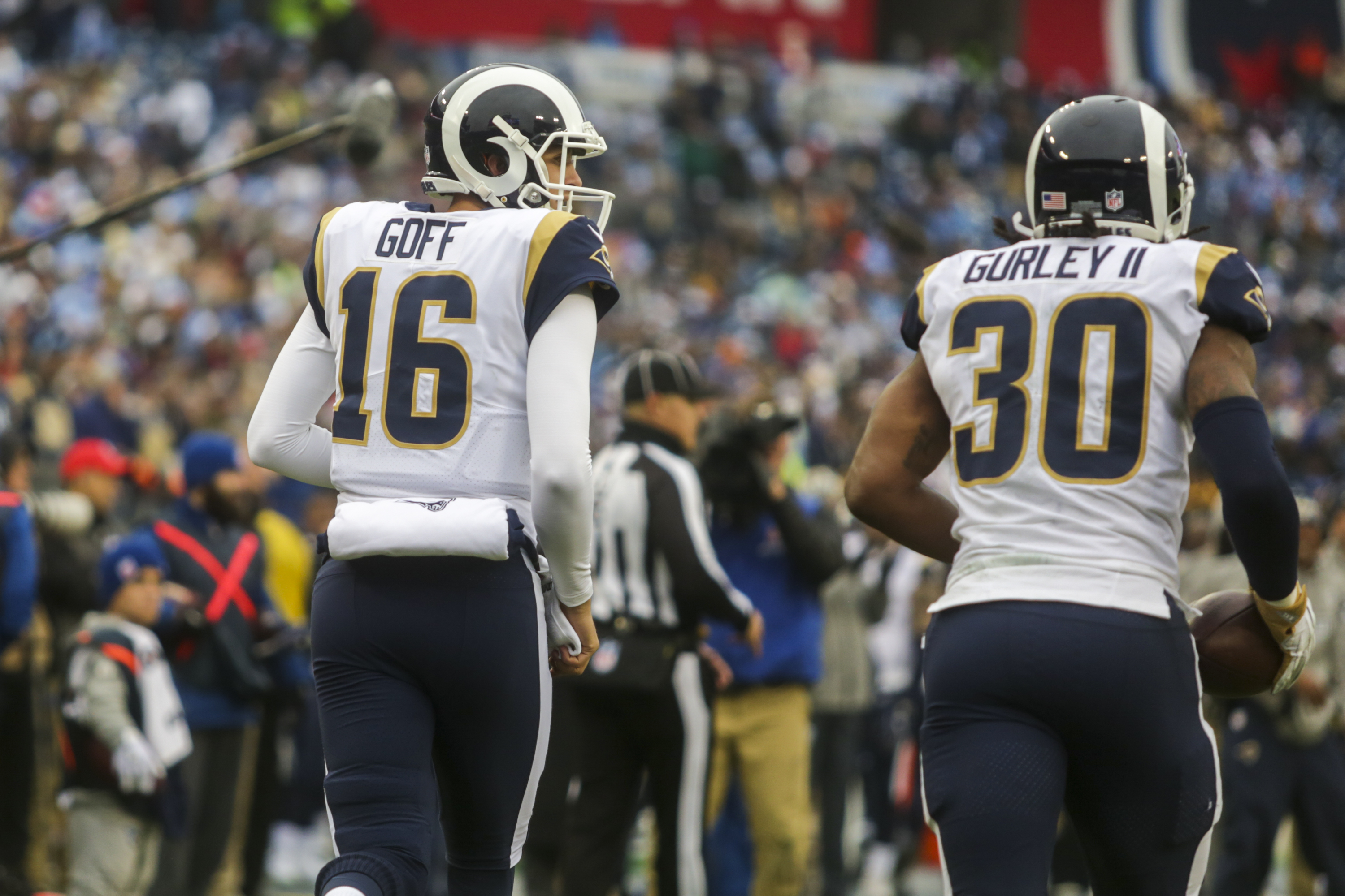 Los Angeles Rams QB Jared Goff and RB Todd Gurley come off the field against the Tennessee Titans