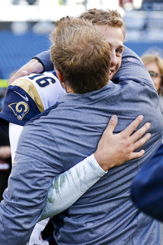 Los Angeles Rams QB Jared Goff hugs HC Sean McVay