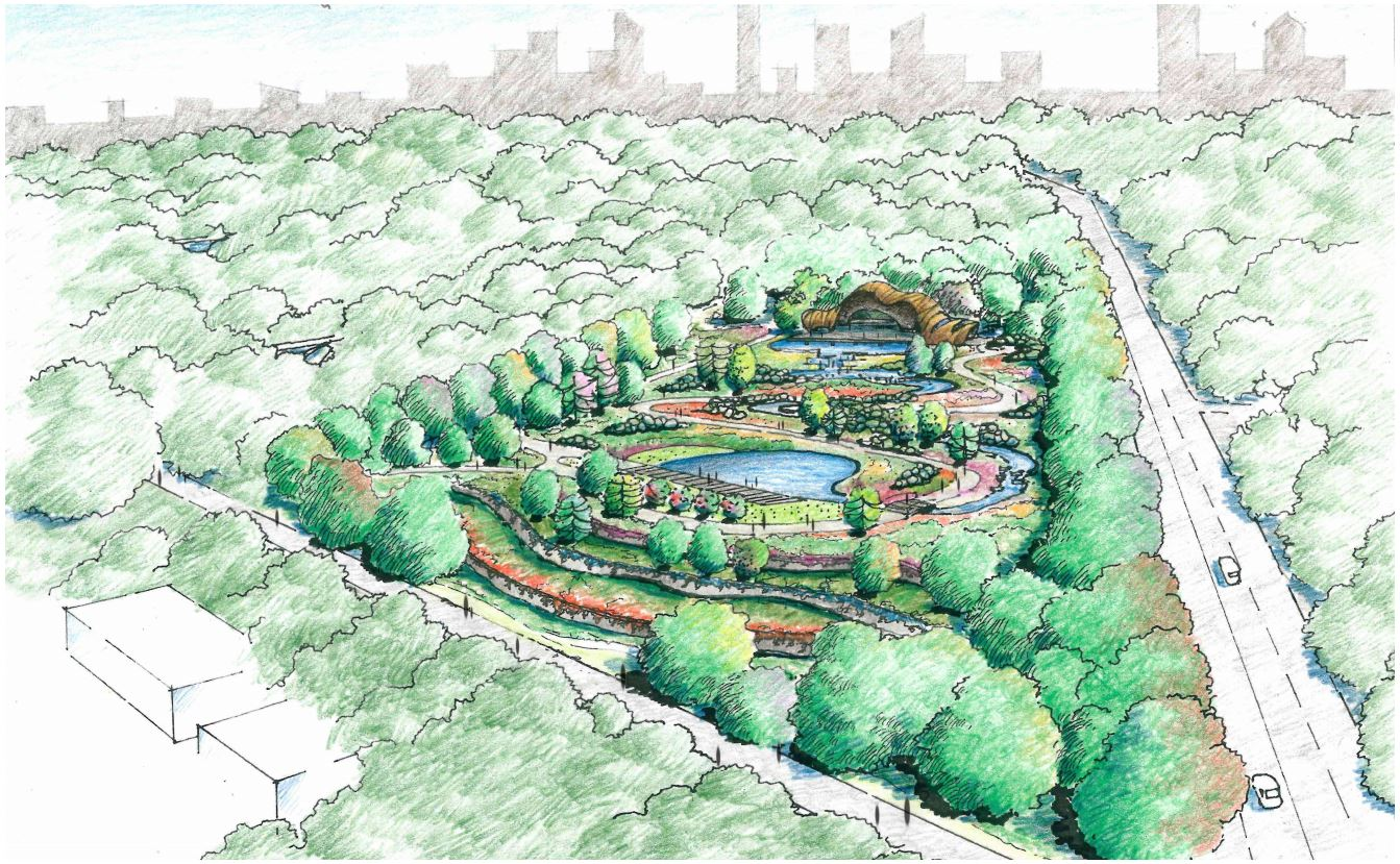 A hand-drawn aerial view of the gardens, with the skyline in the background.