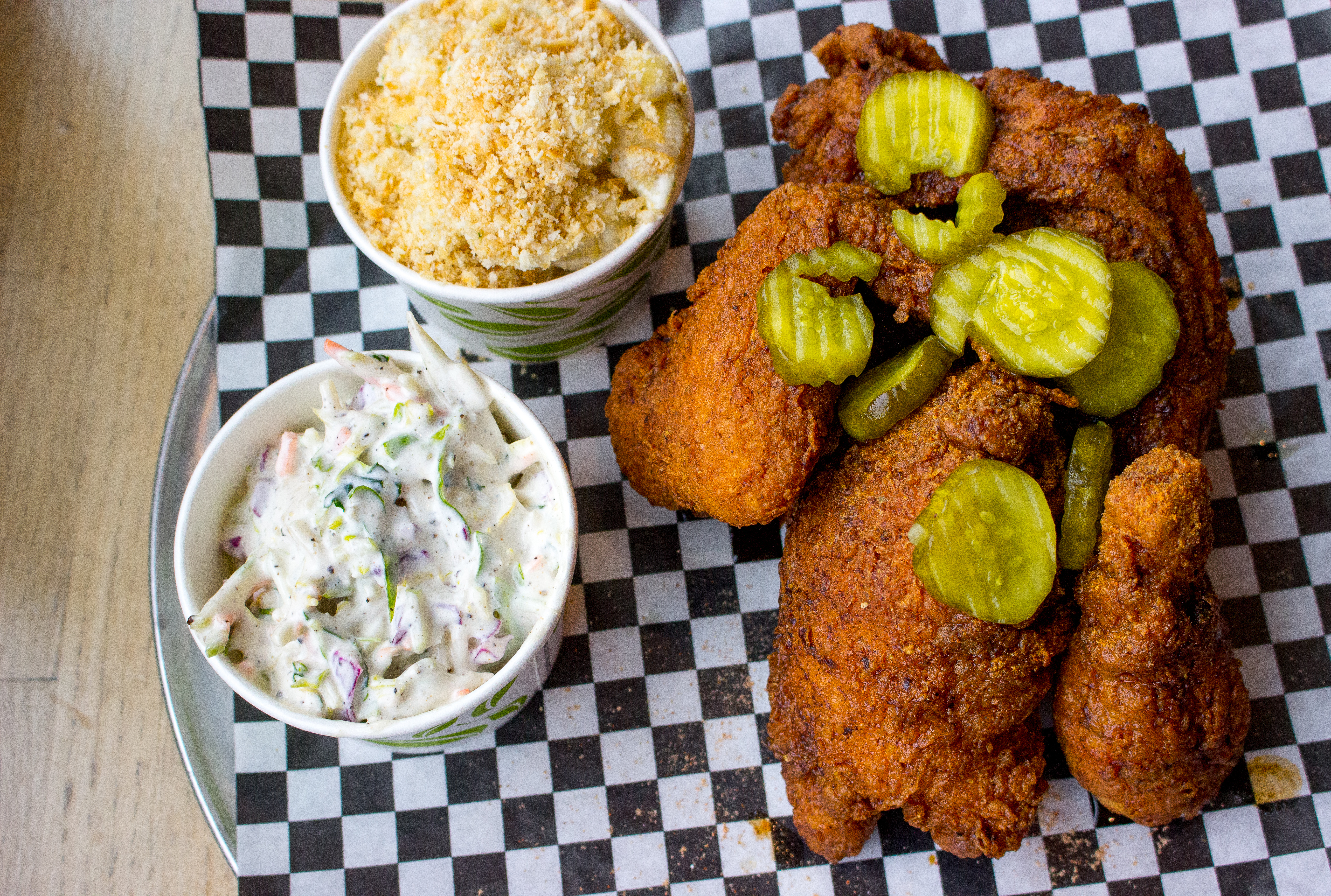 Fried chicken with pickles and two sides