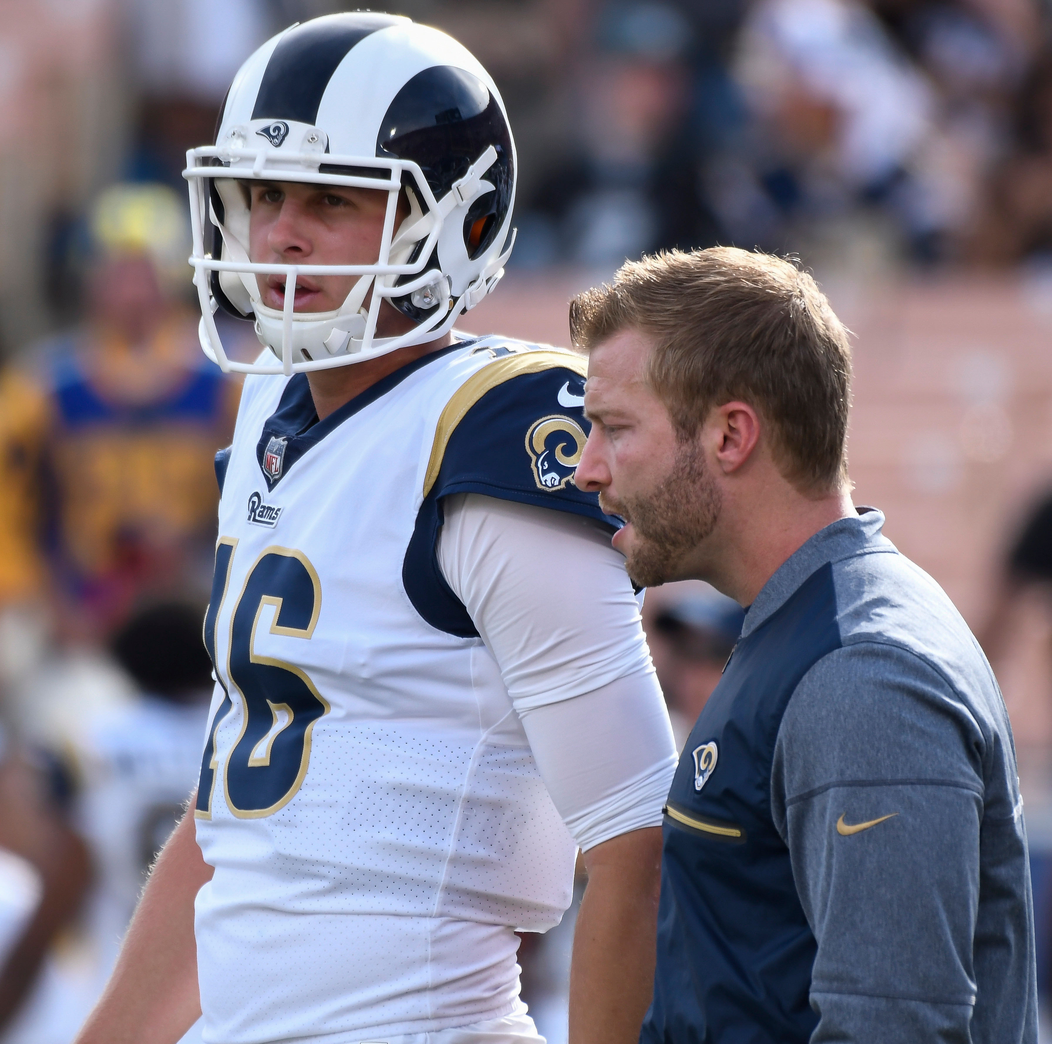 Los Angeles Rams QB Jared Goff and HC Sean McVay talk prior to the Week 14 game against the Philadelphia Eagles