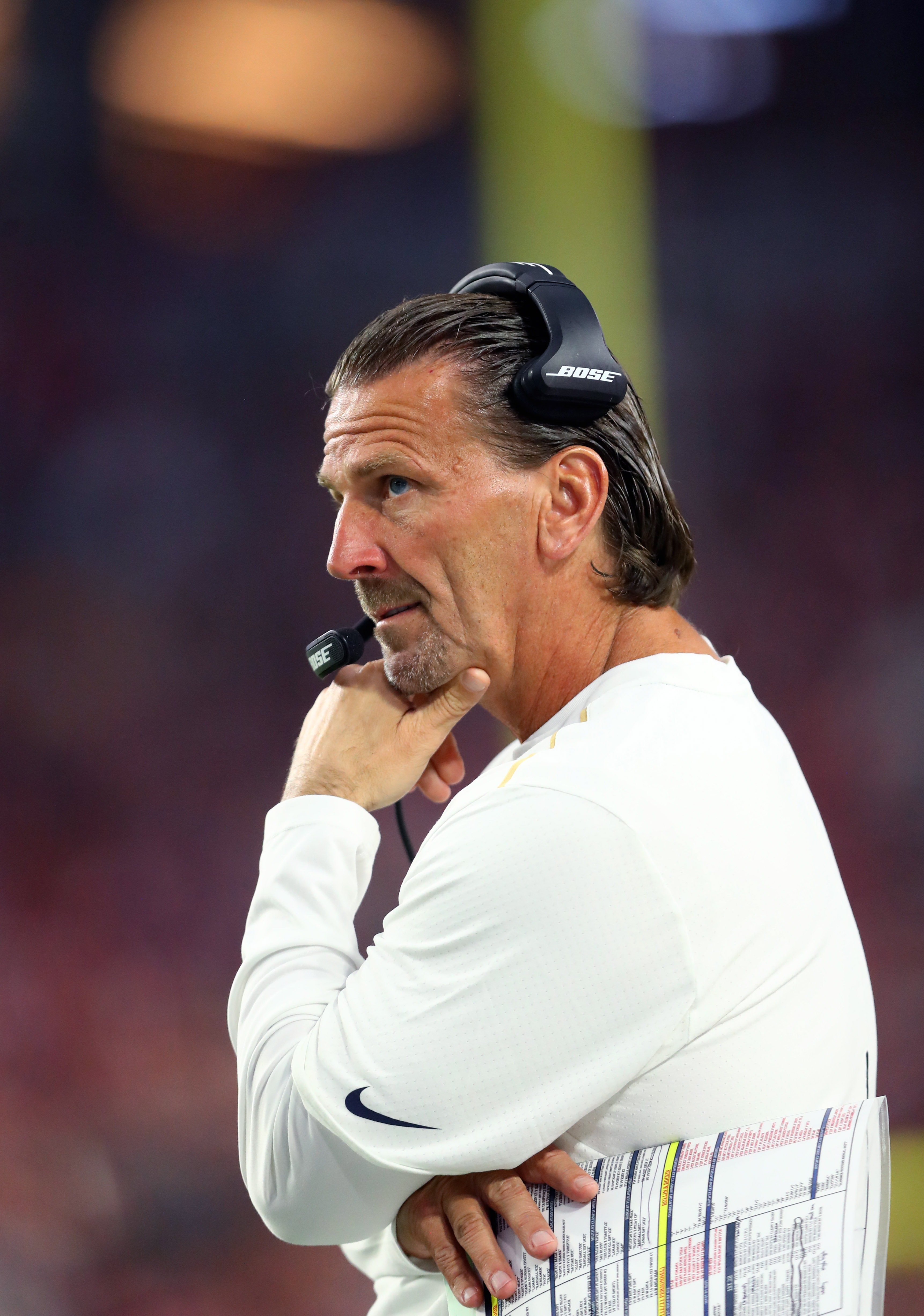 Los Angeles Rams QB Coach Greg Olson on the sideline in Week 13 against the Arizona Cardinals