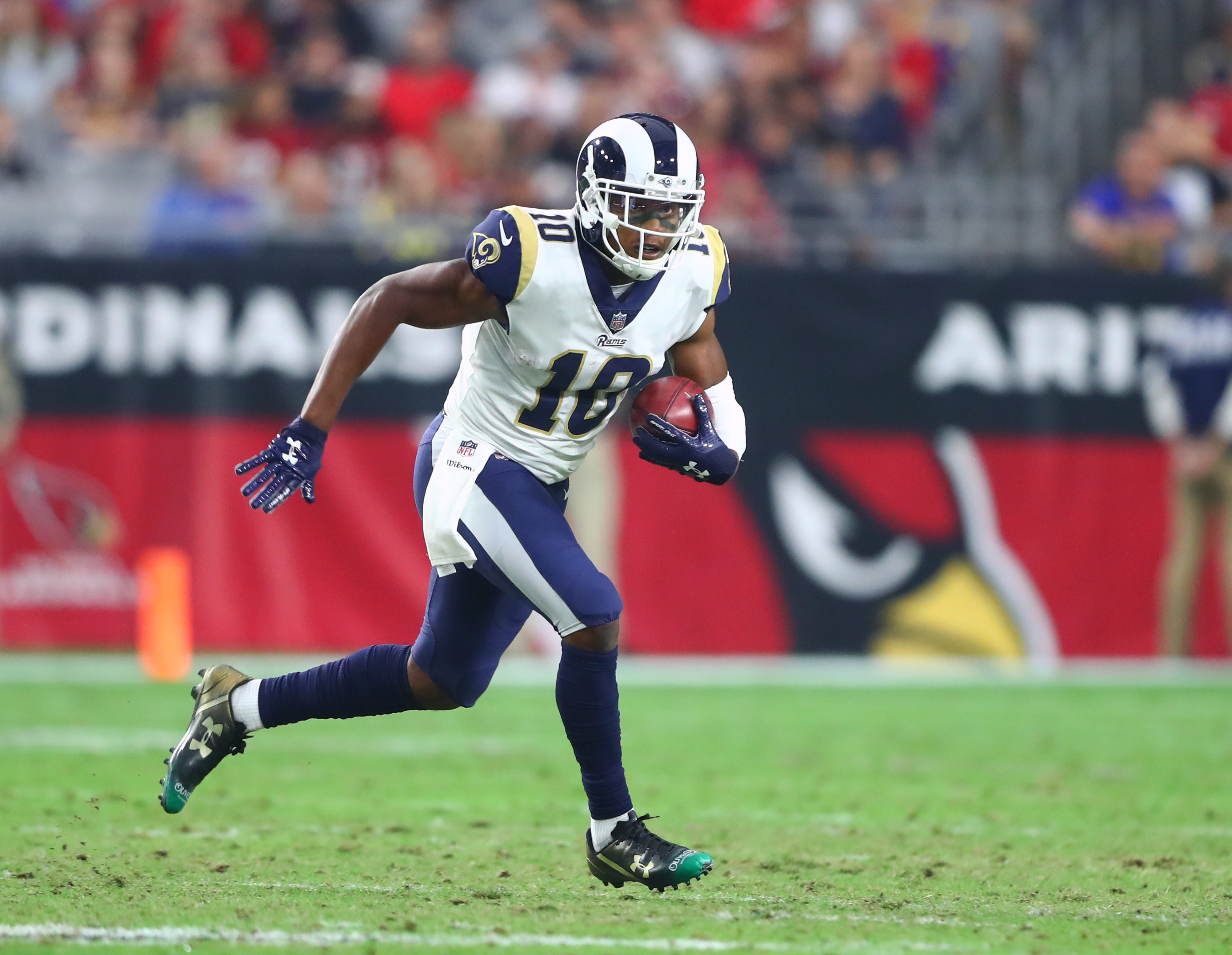 Los Angeles Rams PR Pharoh Cooper returns a kick against the Arizona Cardinals in Week 13