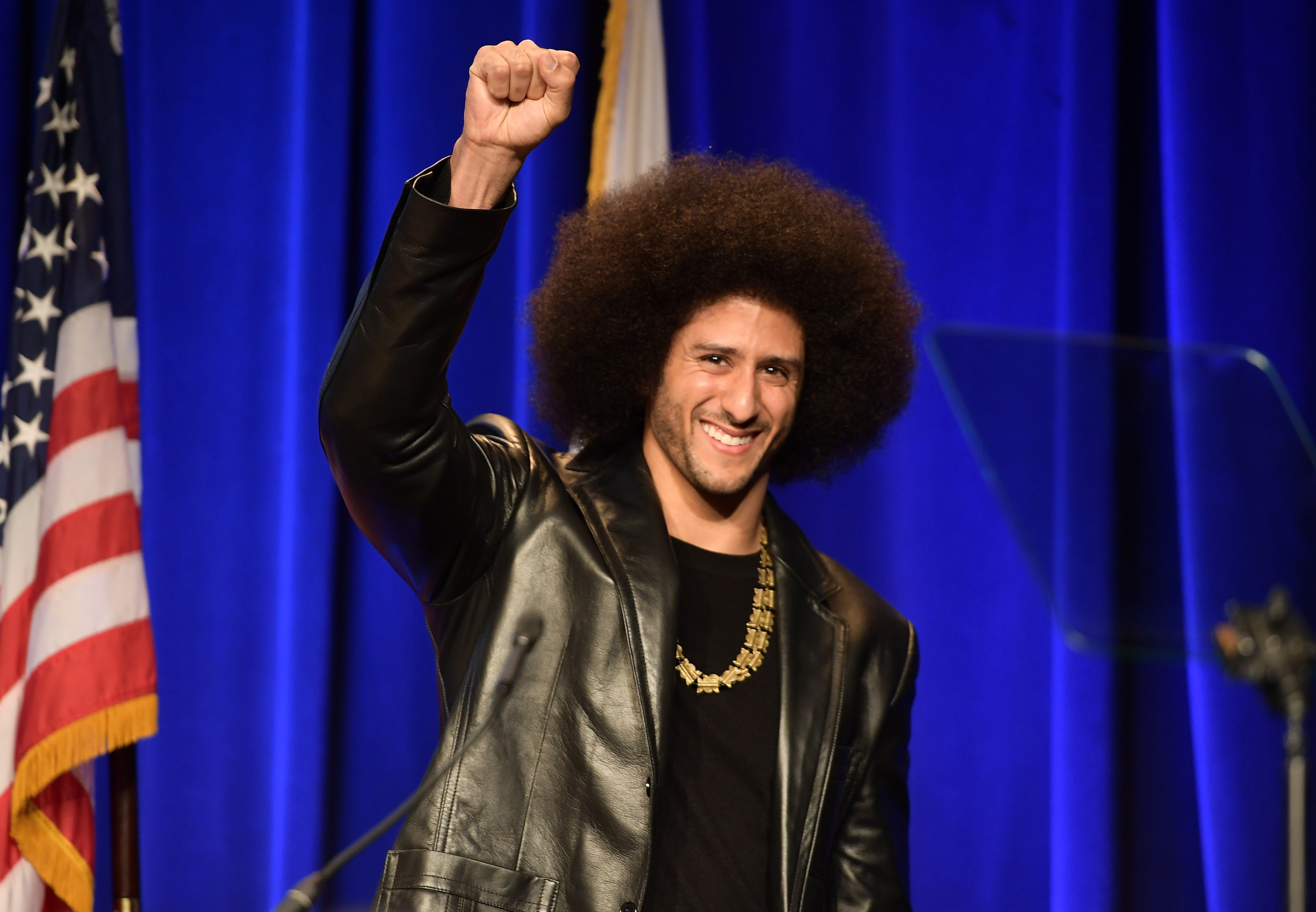 Colin Kaepernick was honored at the ACLU SoCal Hosts Annual Bill of Rights Dinner in December 2017.