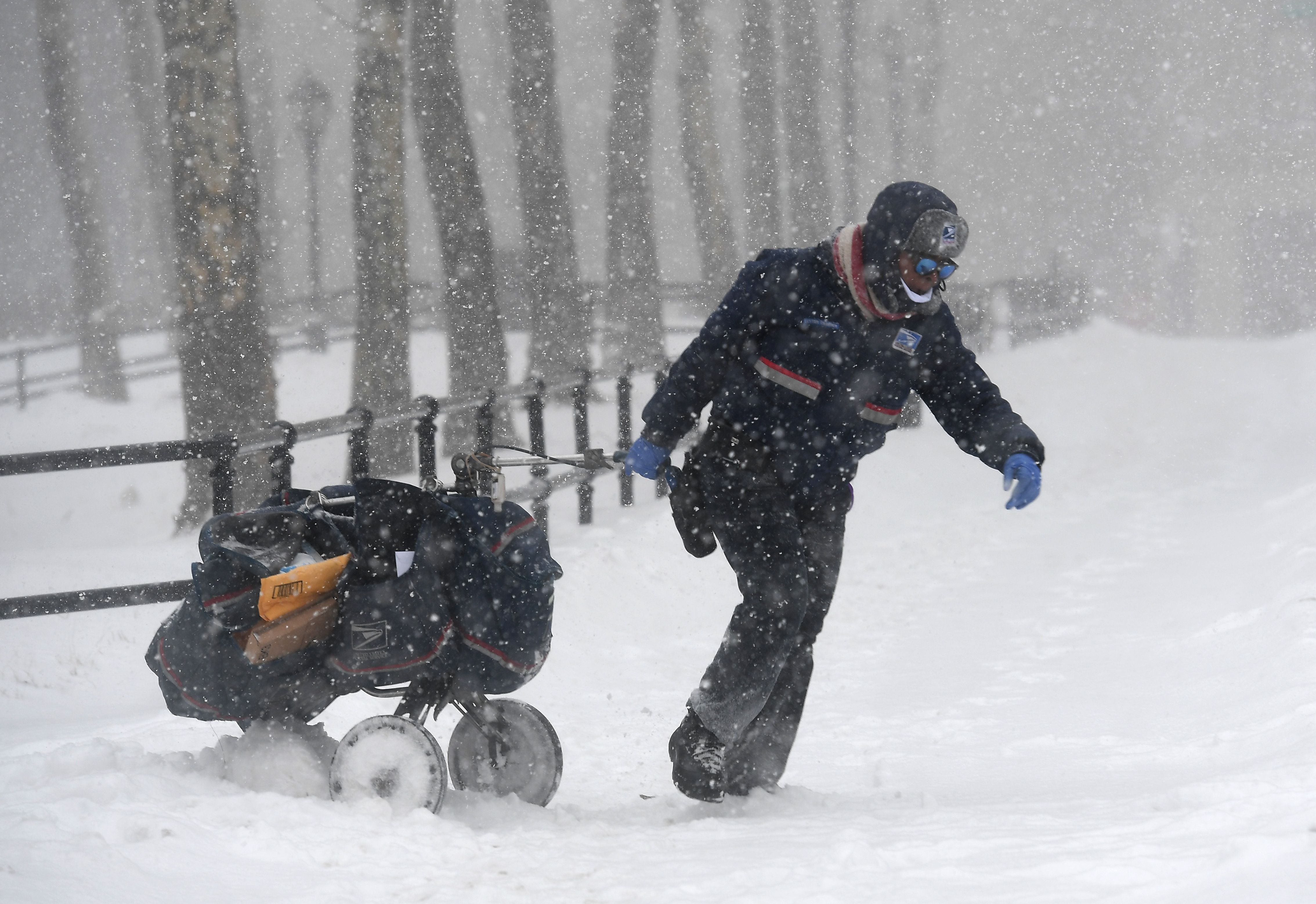 A mail delivery person pulls a cart through the snow