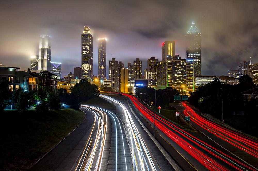 A time-delayed photo of downtown Atlanta at night.