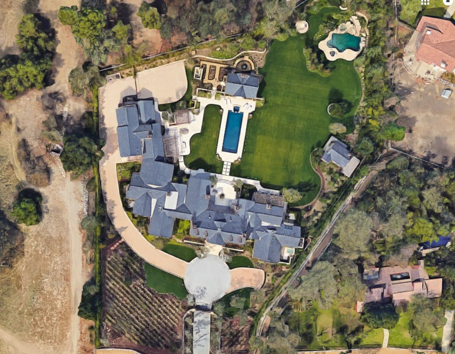 Aerial view of Kim Kardashian and Kanye West's house