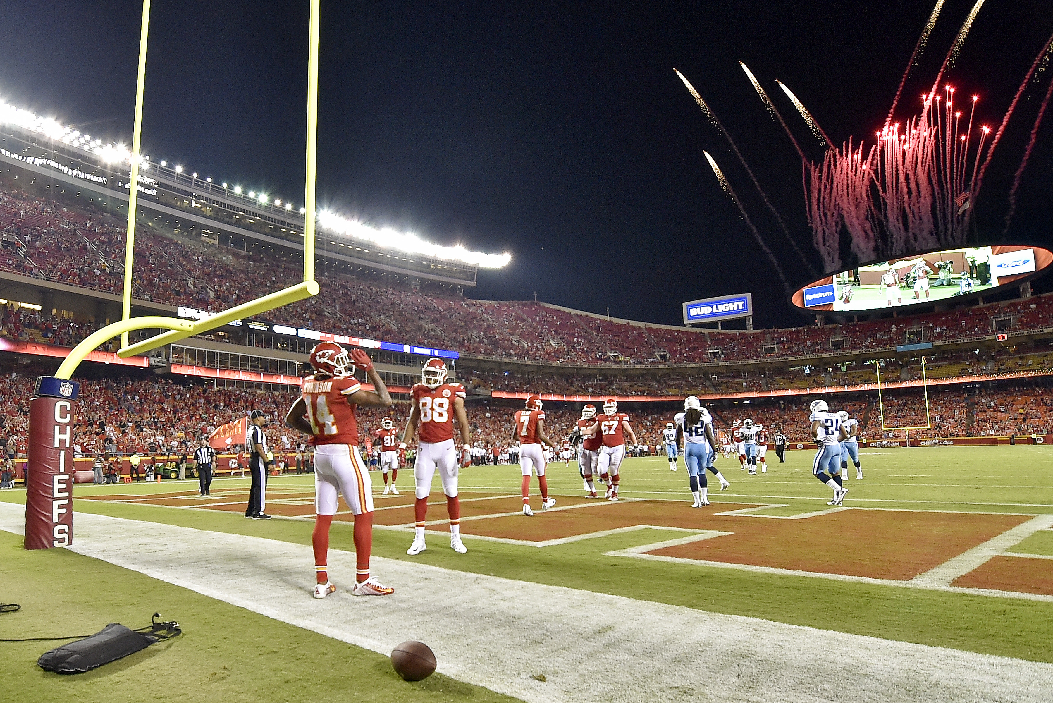 The Kansas City Chiefs score a touchdown against the Tennessee Titans in the 2017 preseason