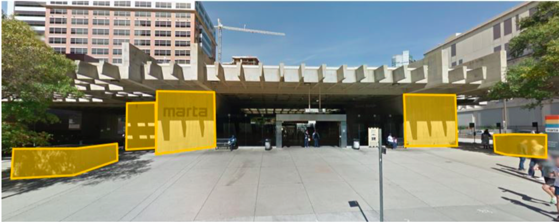 A photo of Midtown's MARTA station, which is soon to be painted.