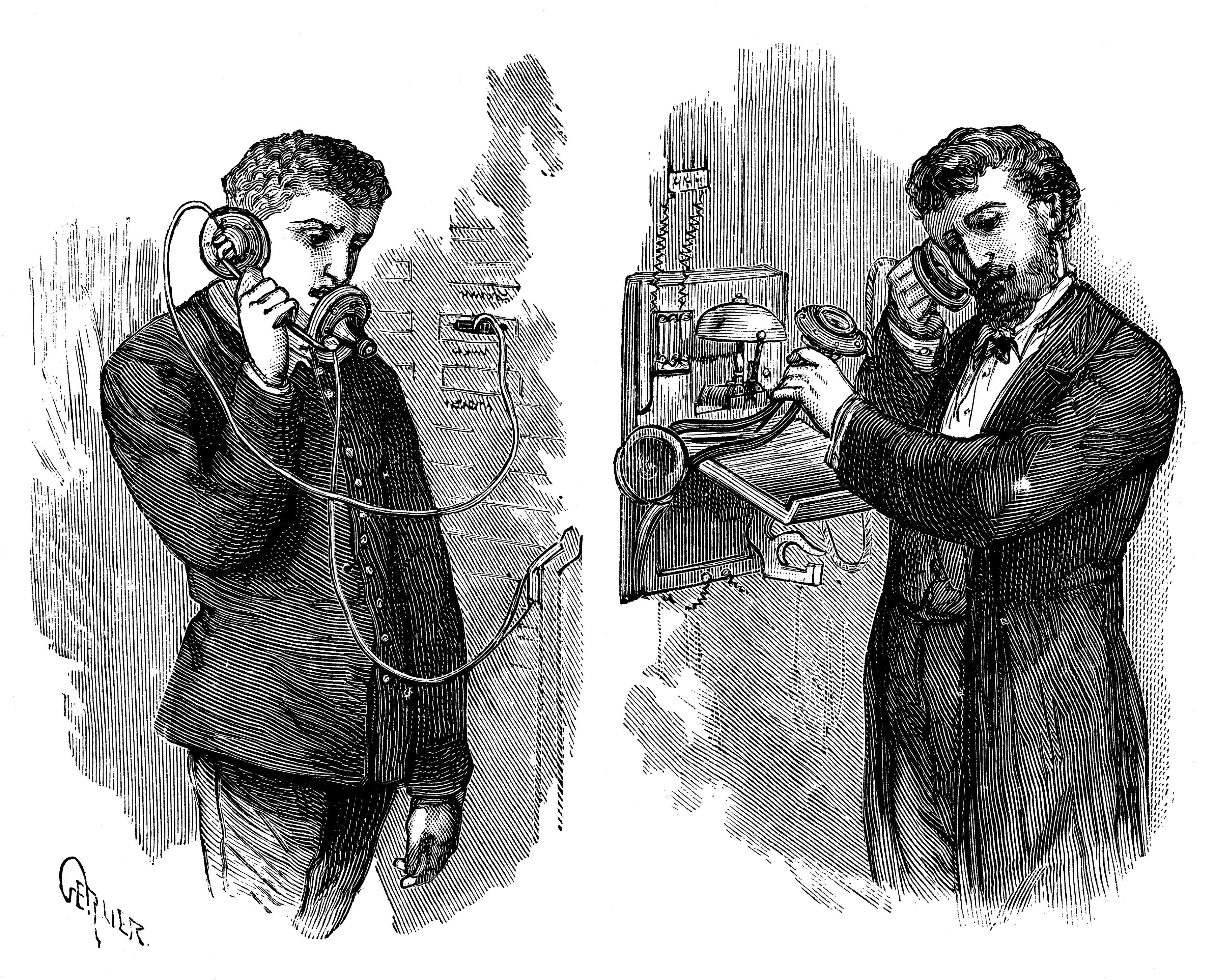 New York telephone subscriber making call through operator at telephone exchange, 1883.