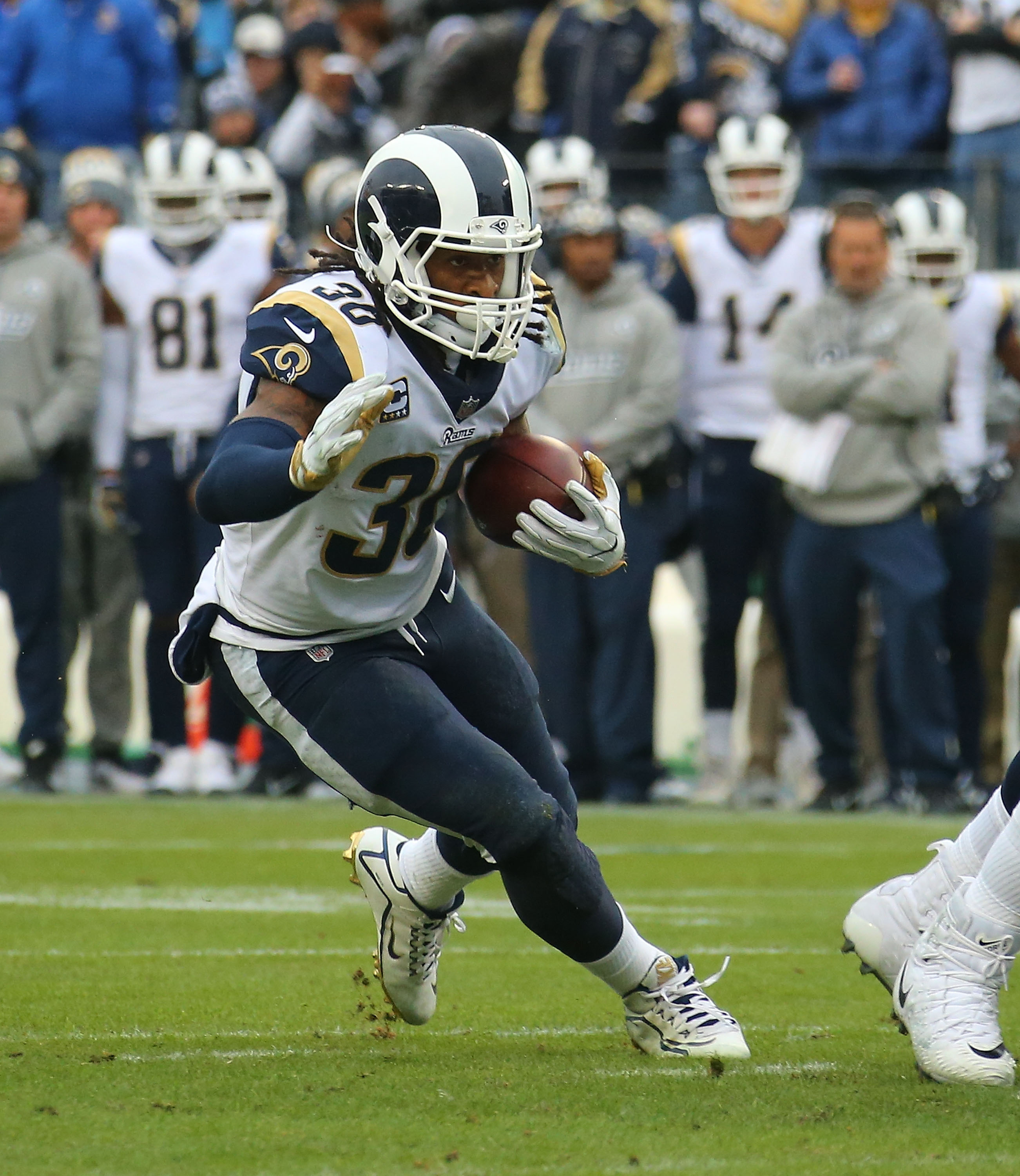 Los Angeles Rams RB runs against the Tennessee Titans in Week 16