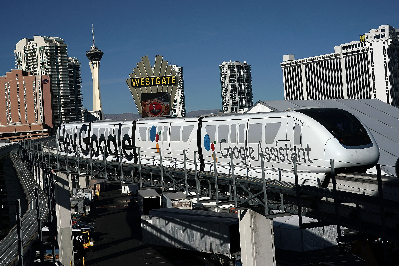 A Las Vegas Monorail car with a Google ad