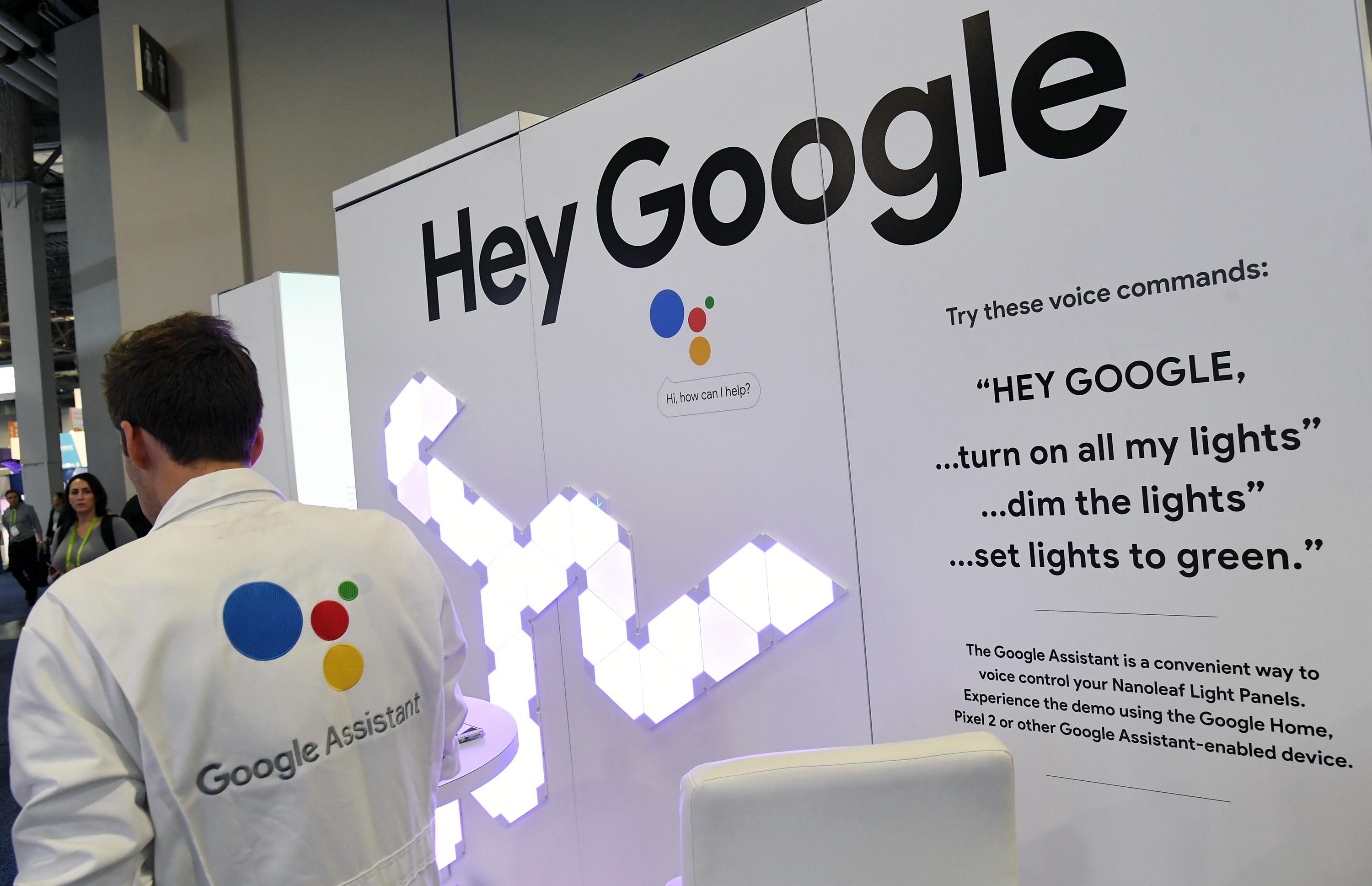 Signage for the Google Assistant is displayed during CES 2018 at the Sands Expo and Convention Center on January 9, 2018 in Las Vegas, Nevada. CES, the world's largest annual consumer technology trade show, runs through January 12 and features about 3,900