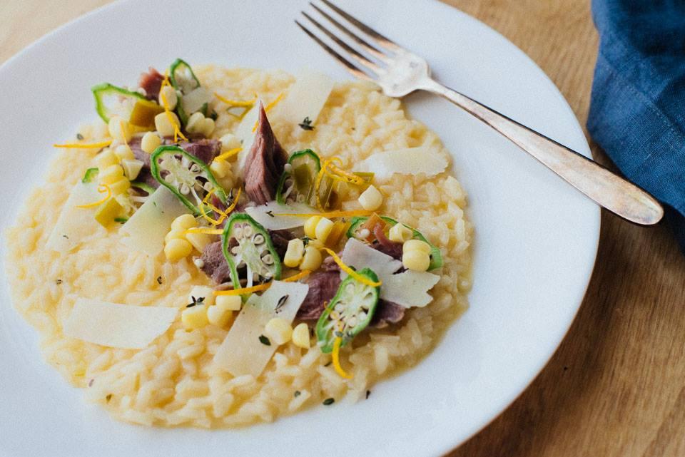 Intero's pork risotto with crispy okra