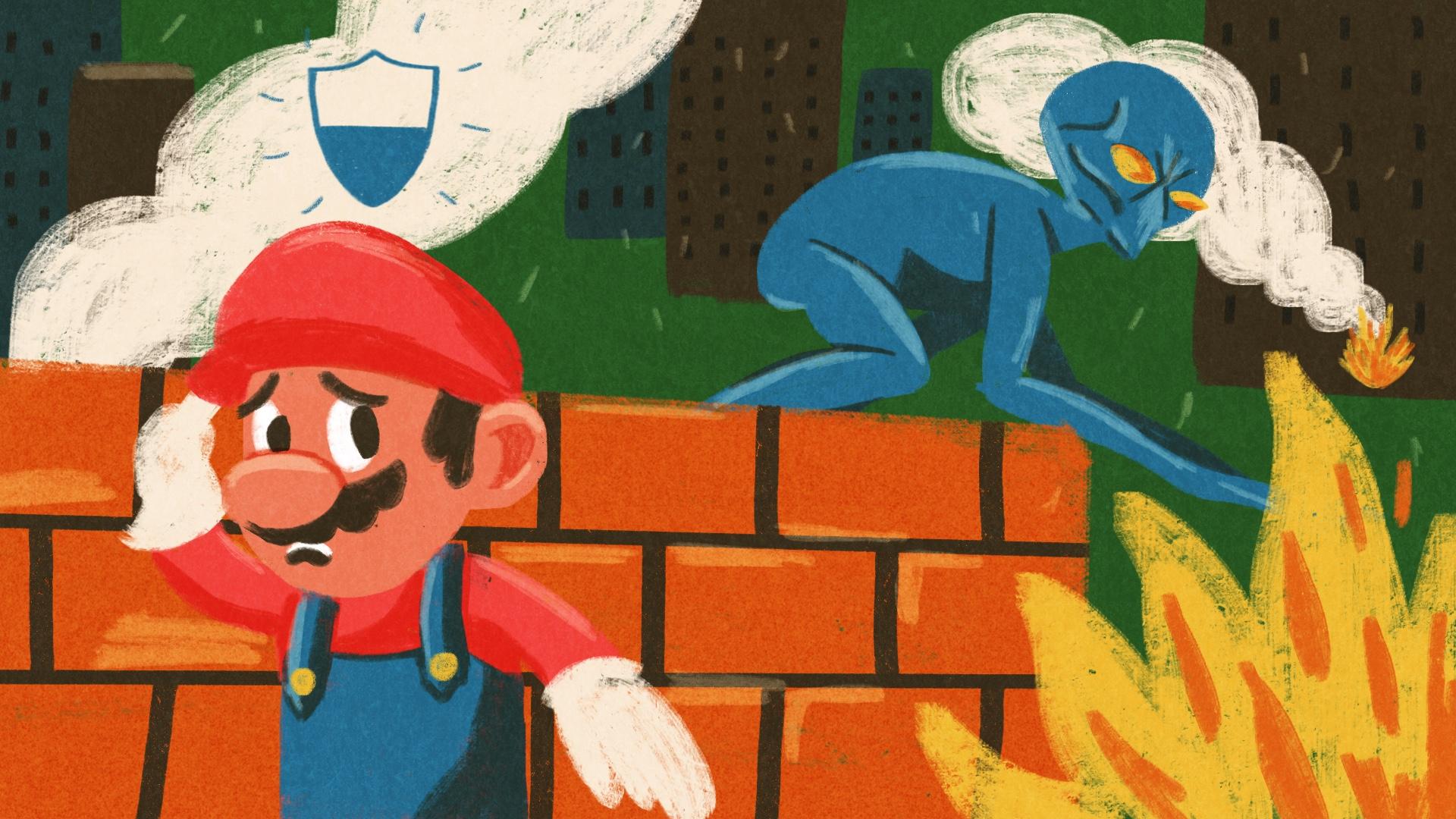Mario battles an alien from XCOM