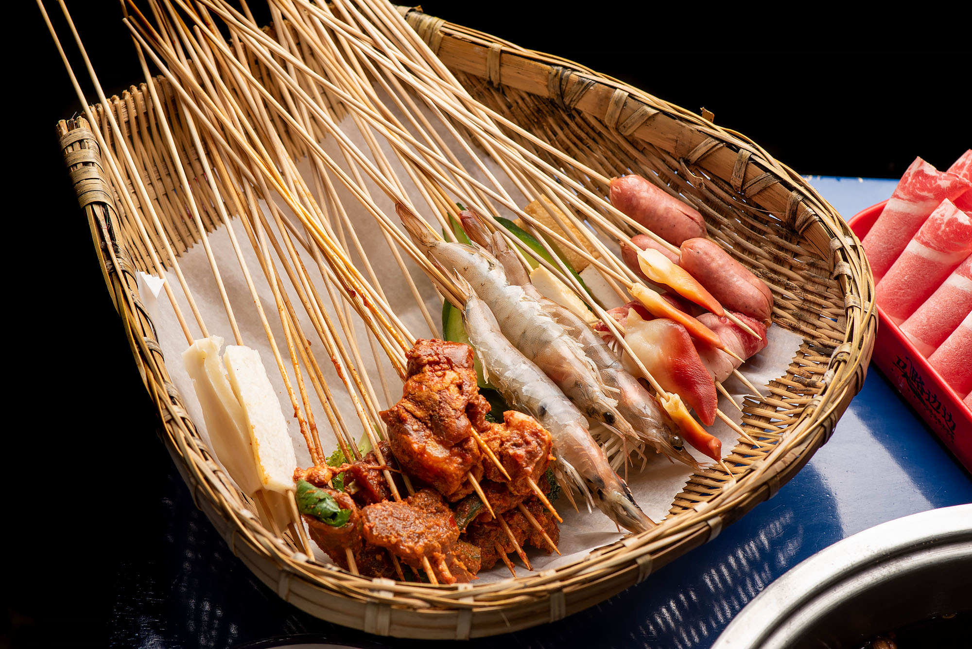 Skewers of shrimp and meats at Malubianbian.