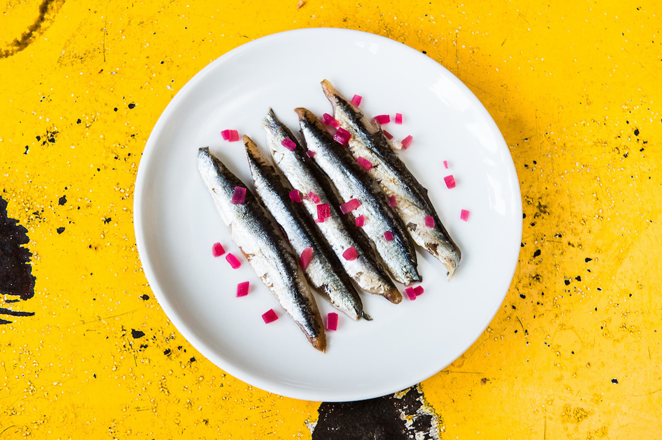 Anchovies on a white plate on a yellow background