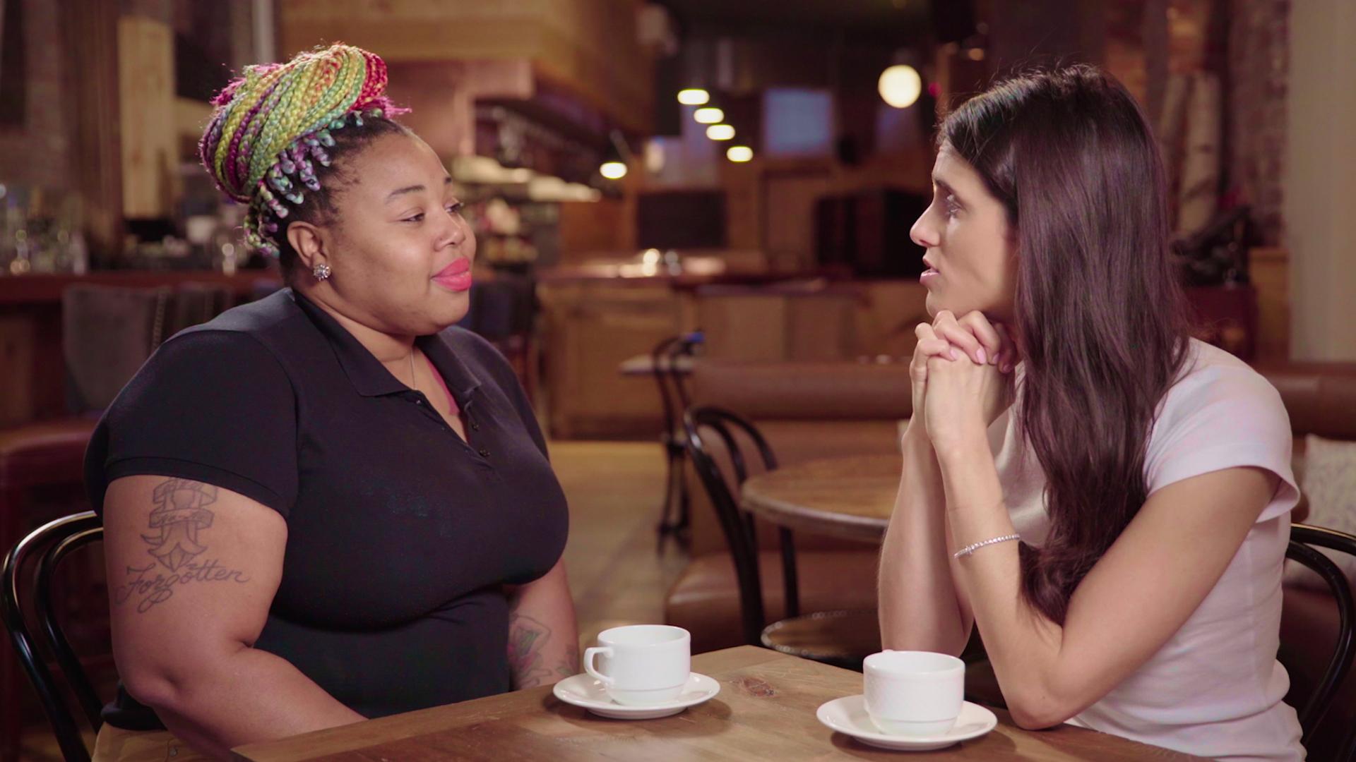 Liz talks to restaurant worker
