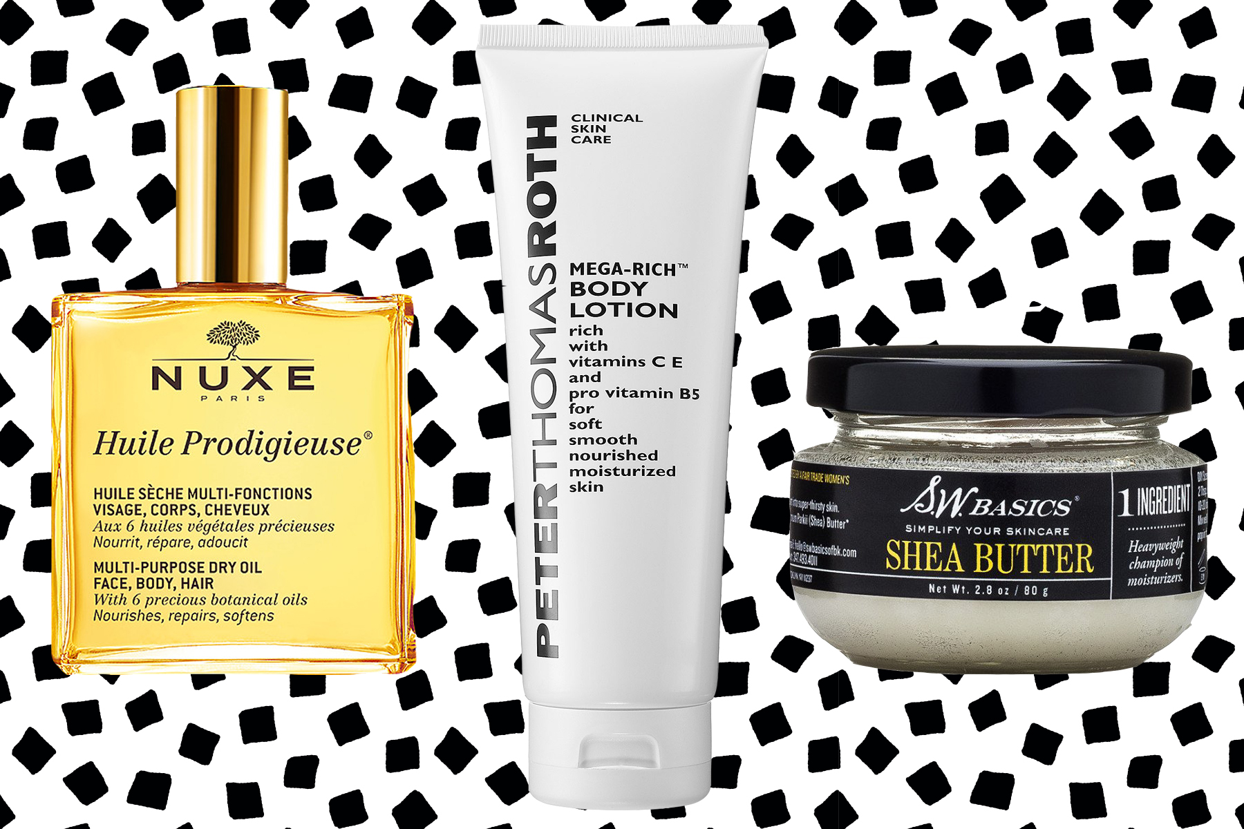 Nuxe, Peter Thomas Roth, S.W. Basics oils and lotions.