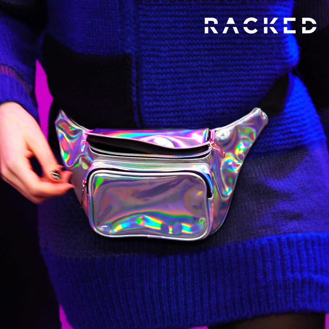 Close-up on a metallic fanny pack