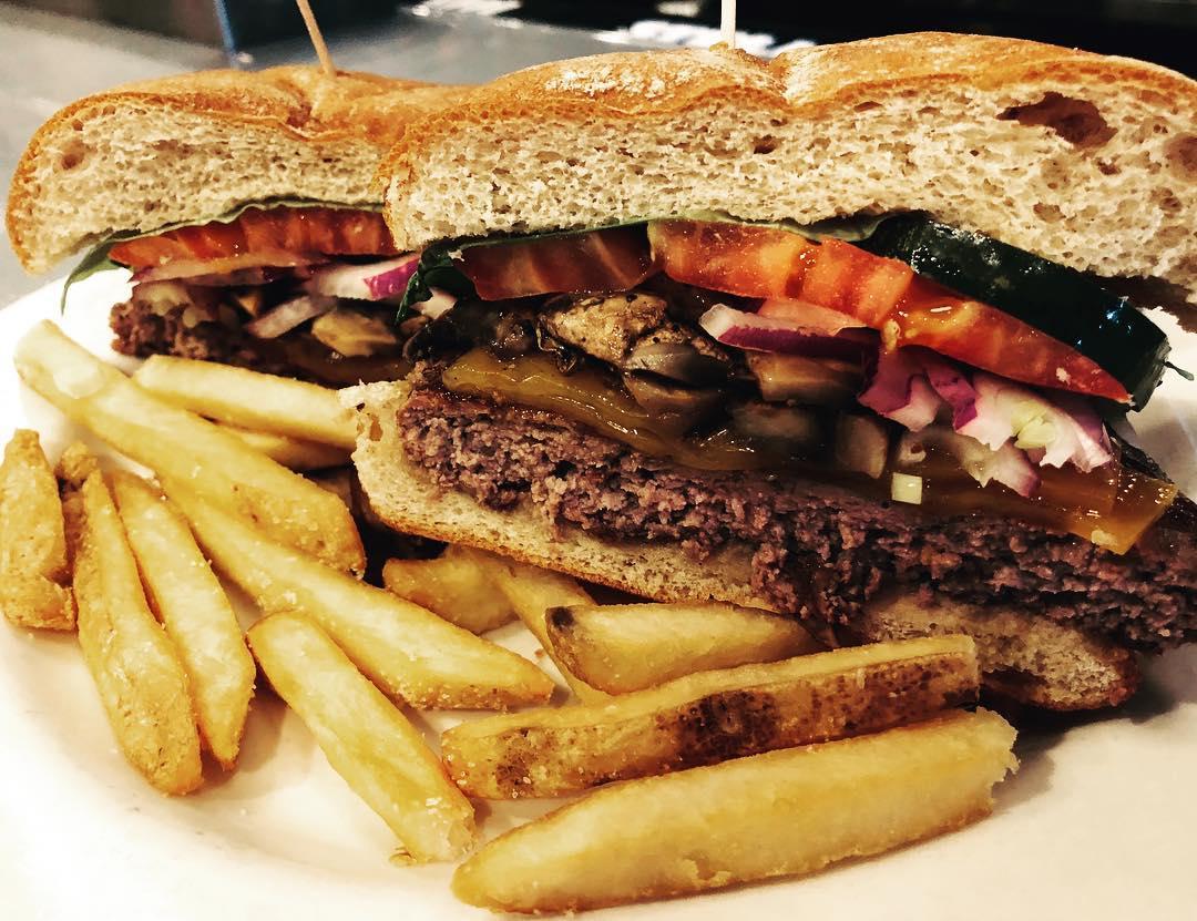 A burger at Globe Bar & Cafe