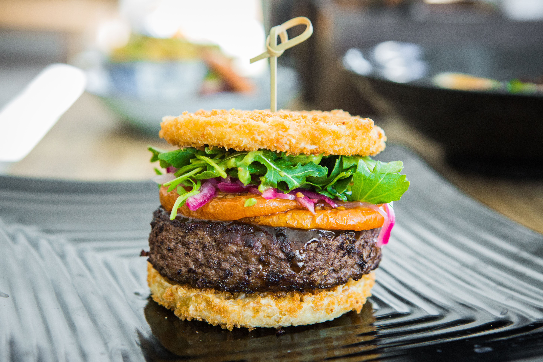 The ramen burger at Yoshi Ramen