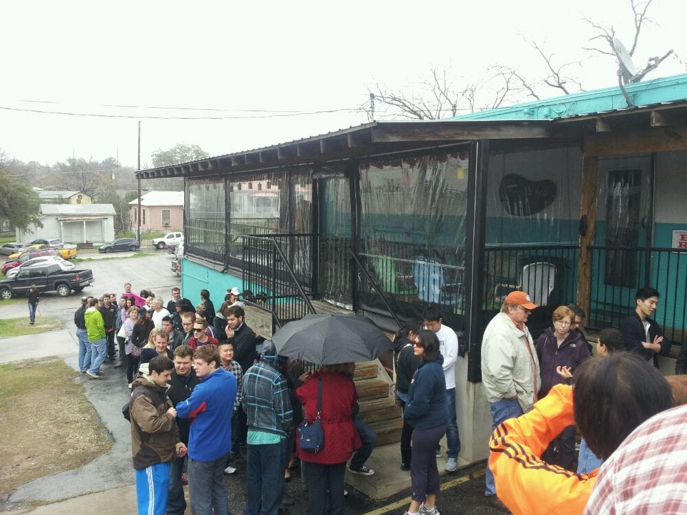 People waiting for Franklin Barbecue in 2012