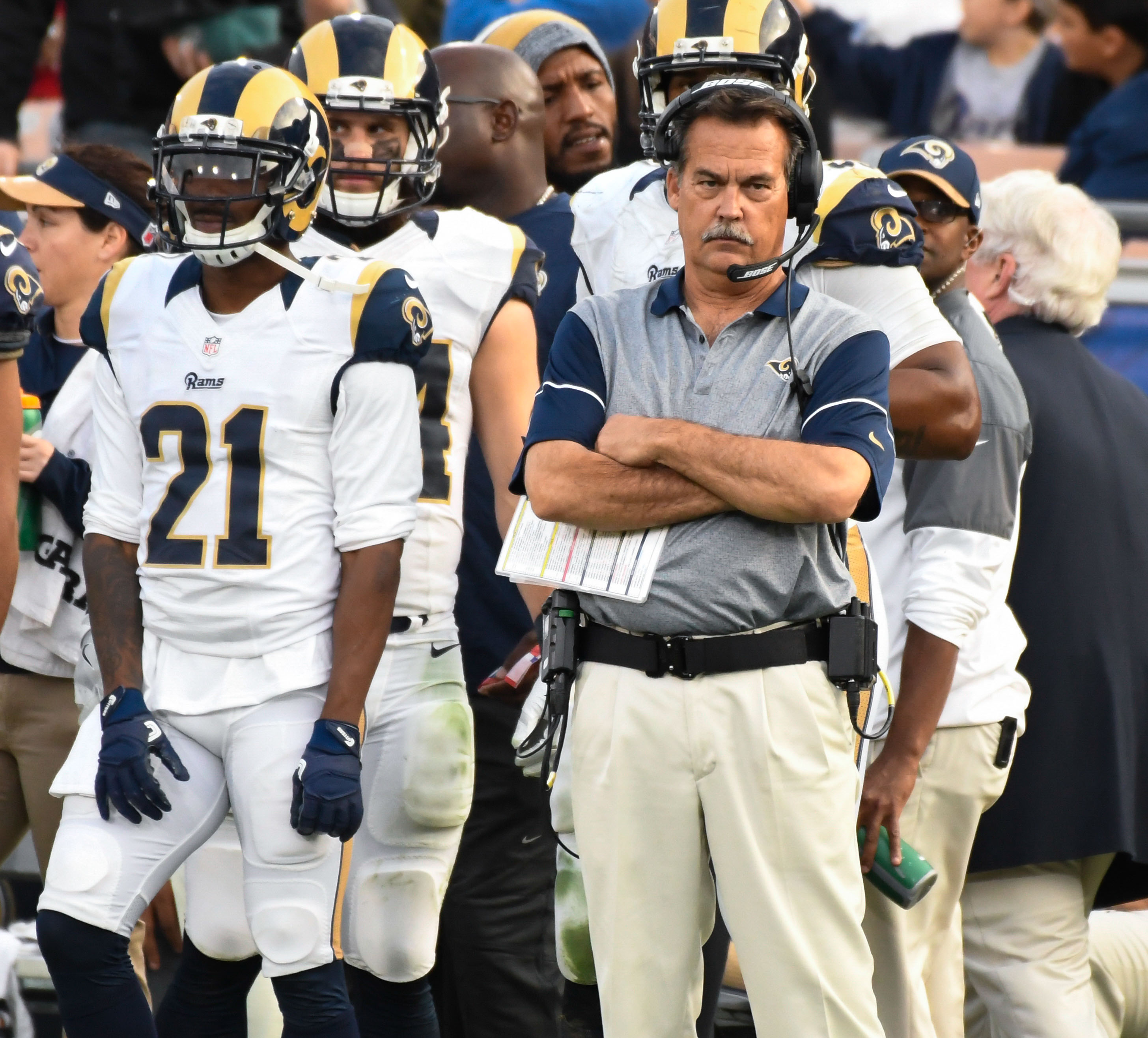 Former Los Angeles Rams Head Coach Jeff Fisher during a Week 14 loss to the Atlanta Falcons in 2016