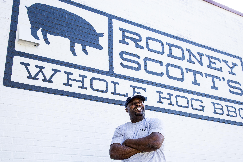 Rodney Scott in front of his Charleston restaurant