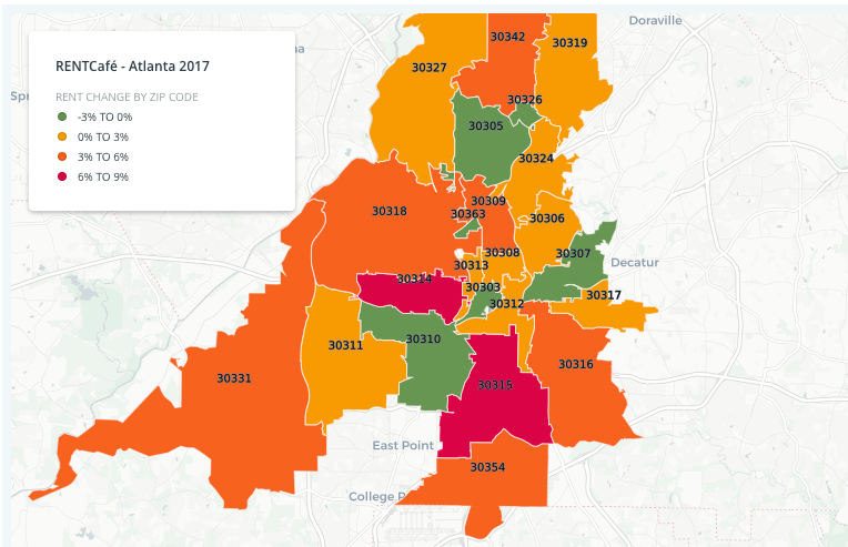 An illustration where green, ironically, indicates Atlanta zip codes where more cash wasn't required to rent in 2017, generally speaking.
