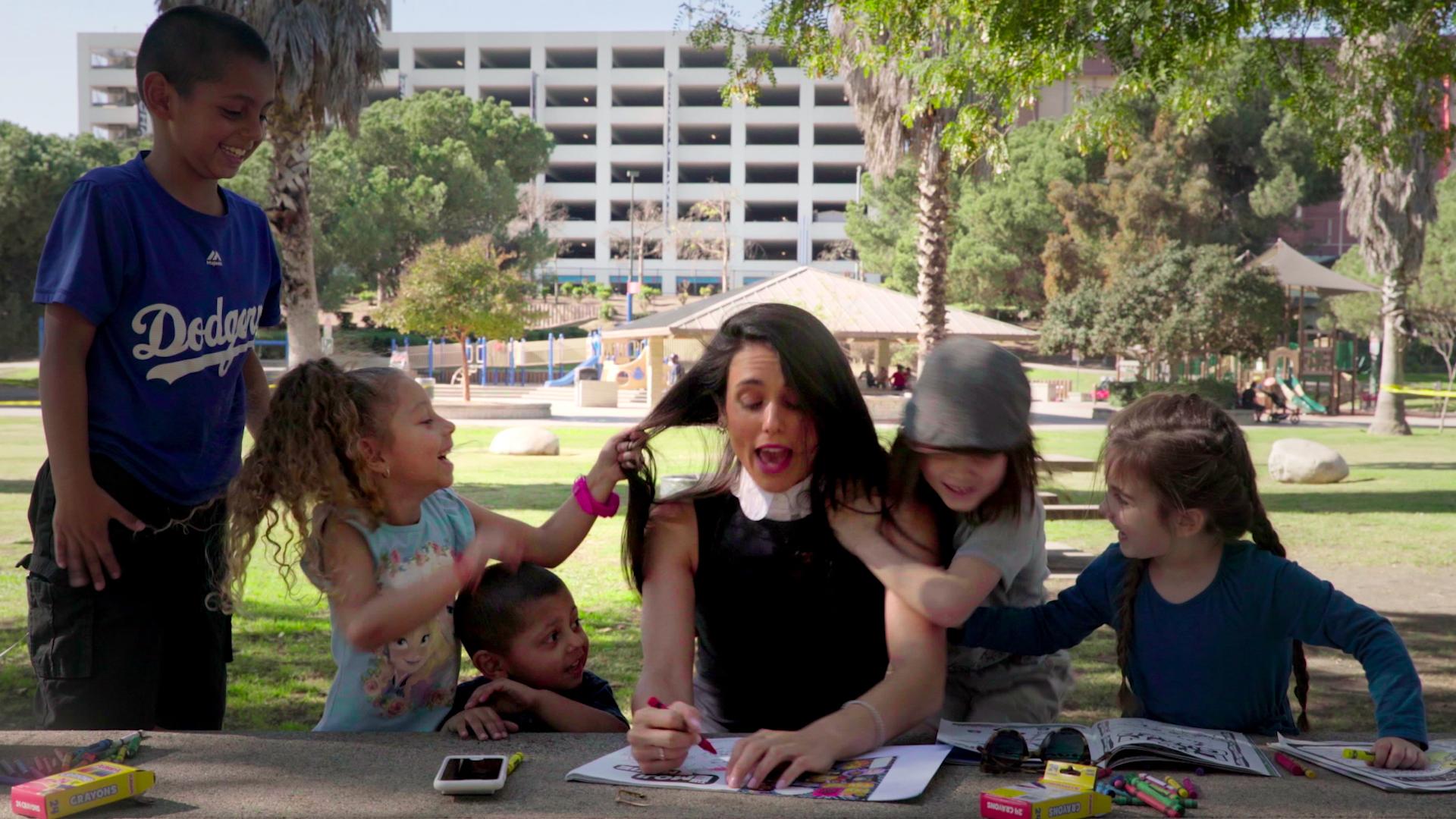Liz with kids