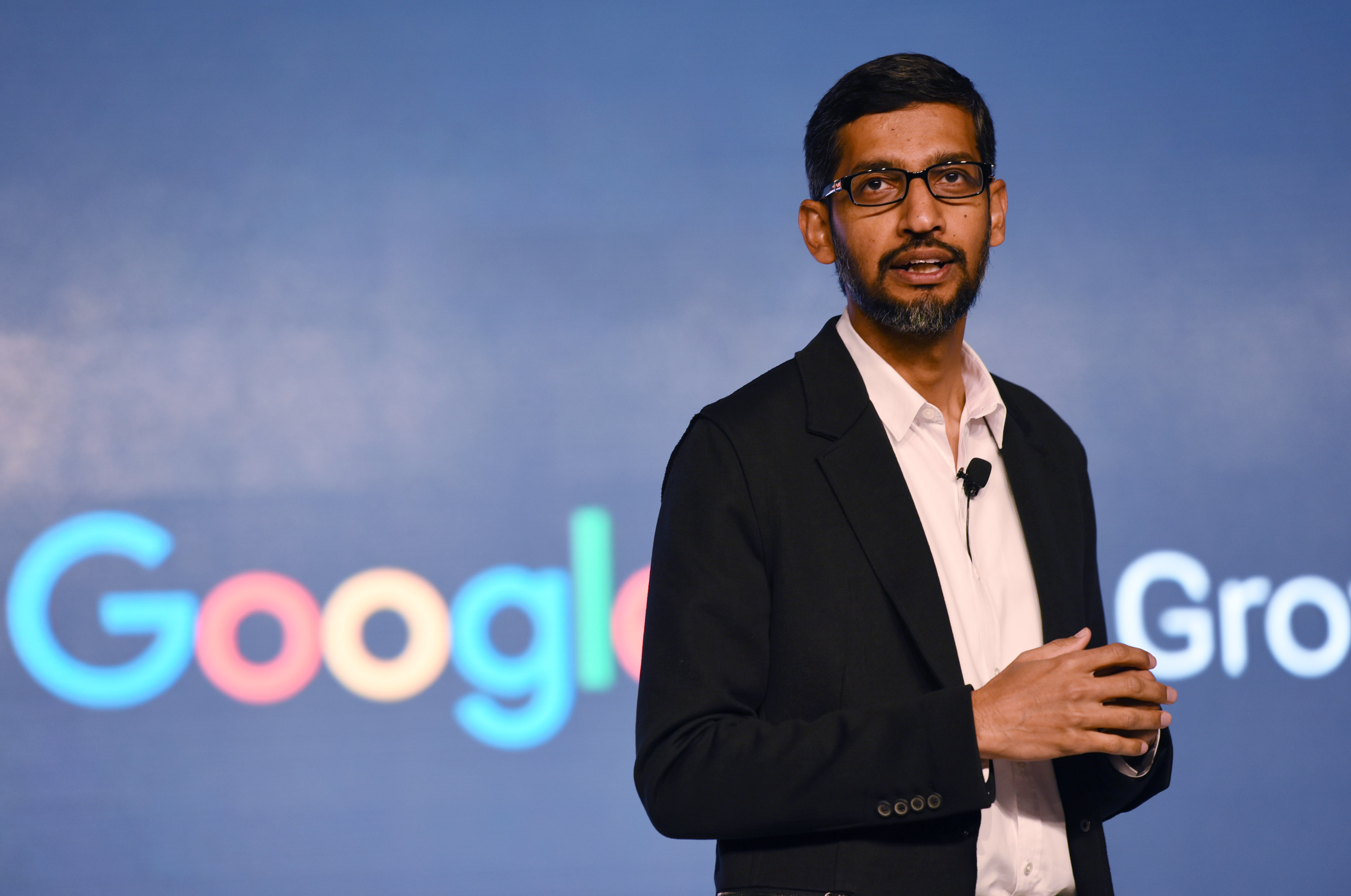 Google CEO Sundar Pichai at the event 'Google partnering with small businesses' at Taj Palace Hotel on January 4, 2017 in New Delhi, India. India-born chief executive of the world's largest Internet Company Google said that his company will work overtime