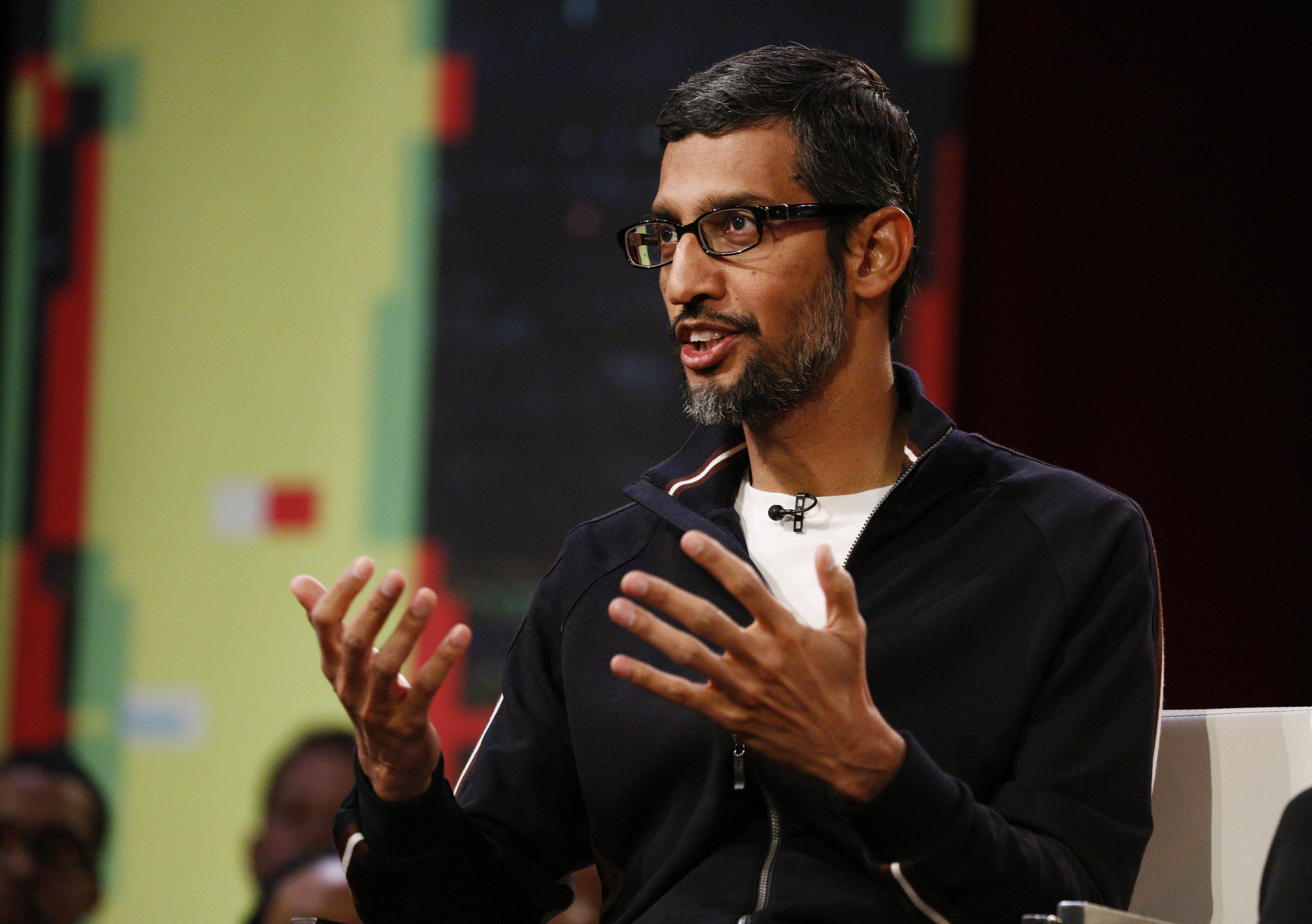 Google CEO Sundar Pichai onstage at Recode/MSNBC town hall