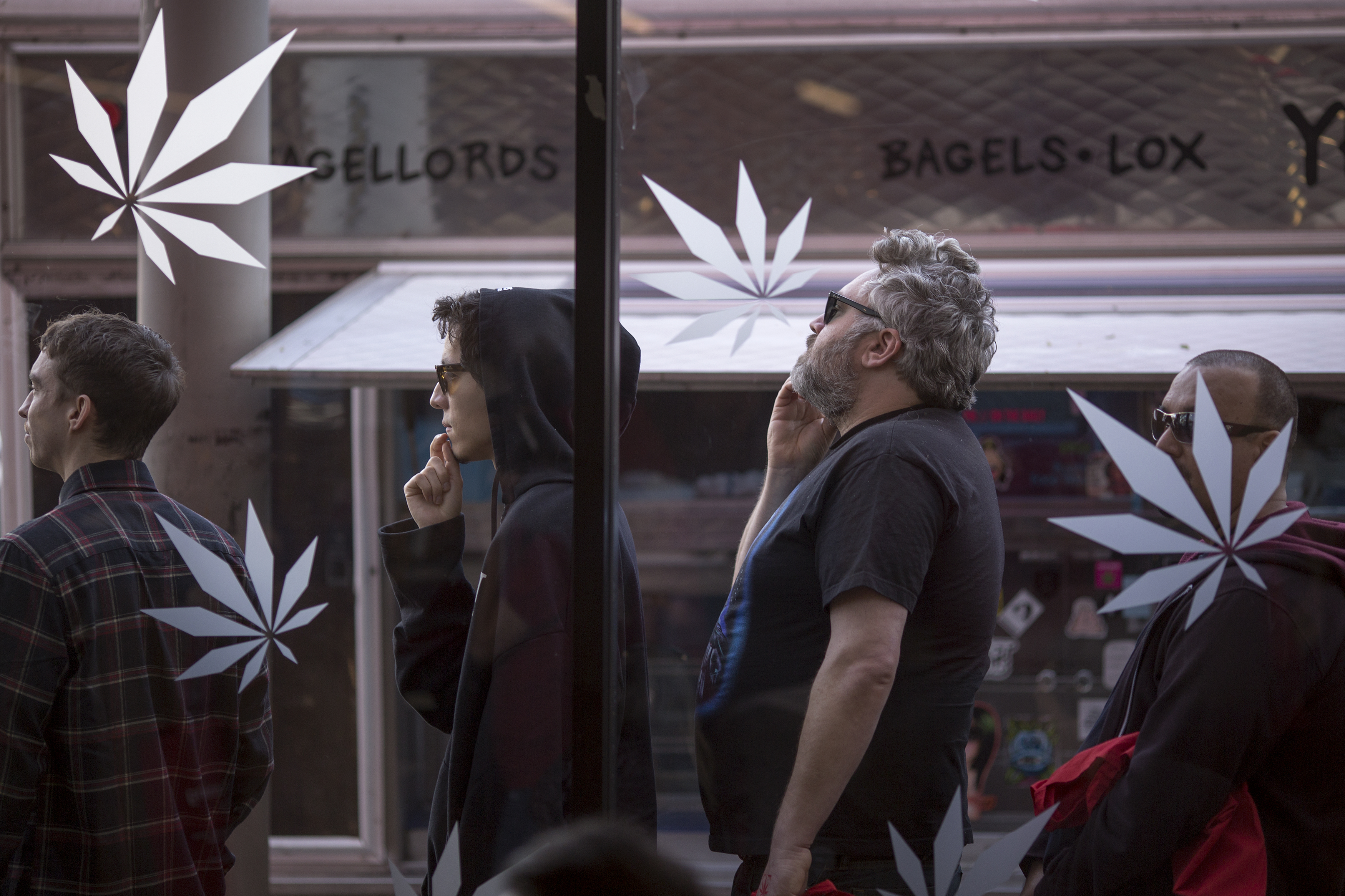 People in line at West Hollywood pot shop