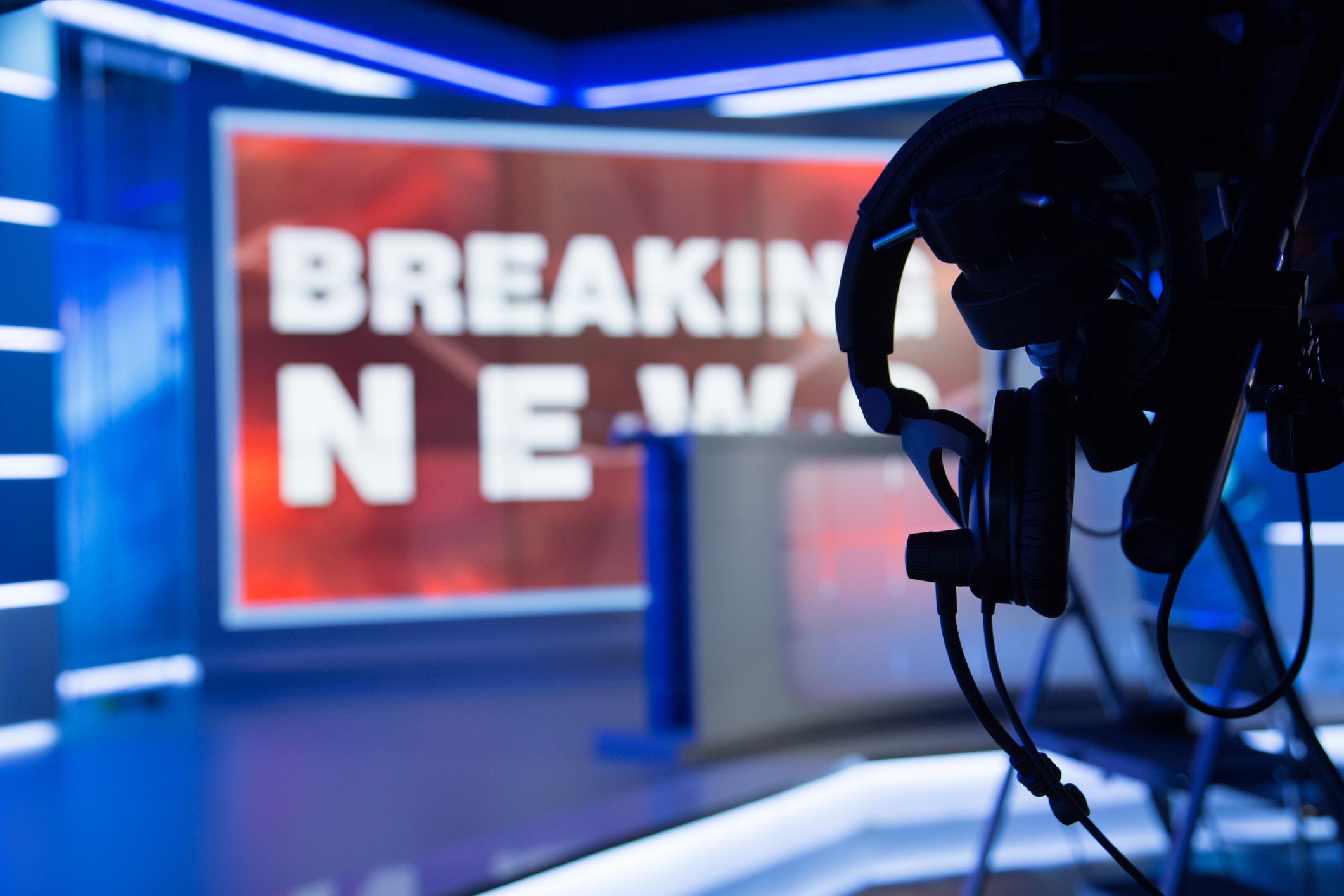 A TV news set