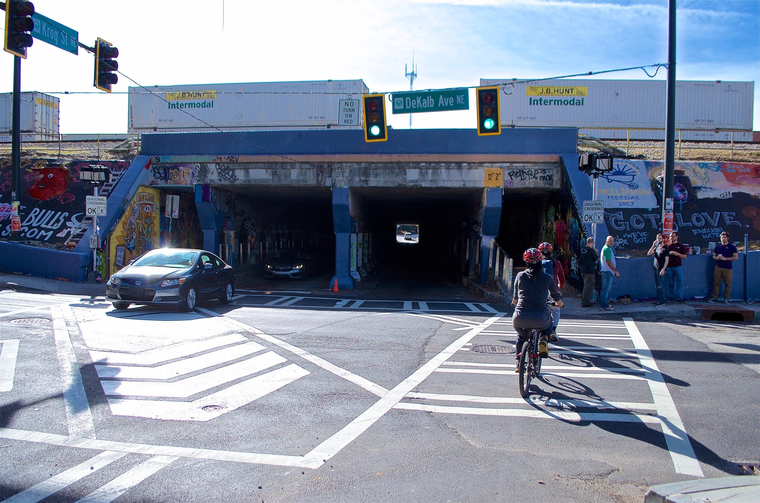 A photo of the intersection of DeKalb Avenue and Krog Street, where multidirectional crossing signals are now a thing.
